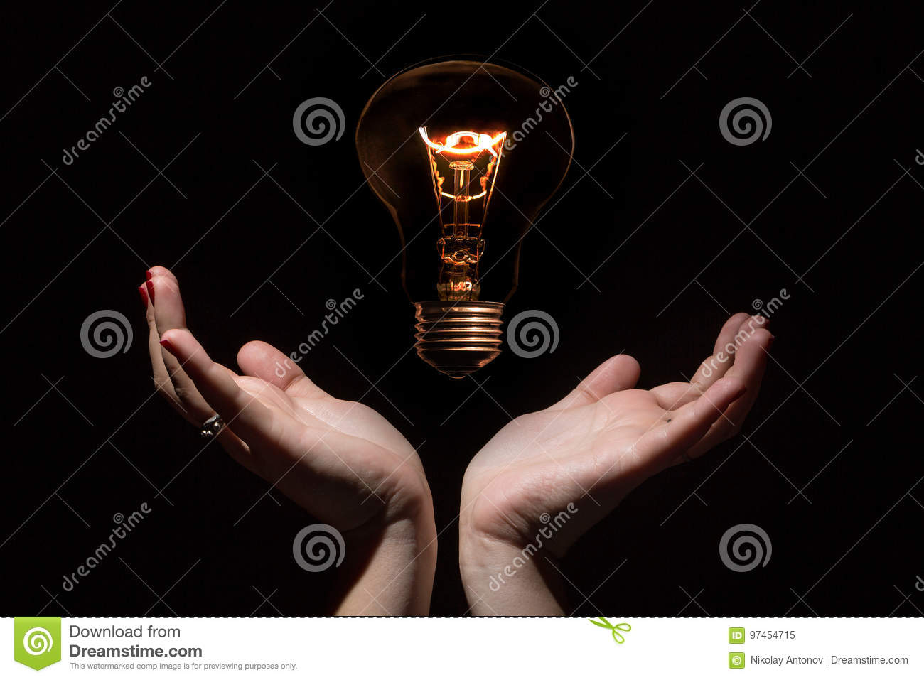 Idea And Success Coincept. Glowing Light Bulb Without Wires And ...