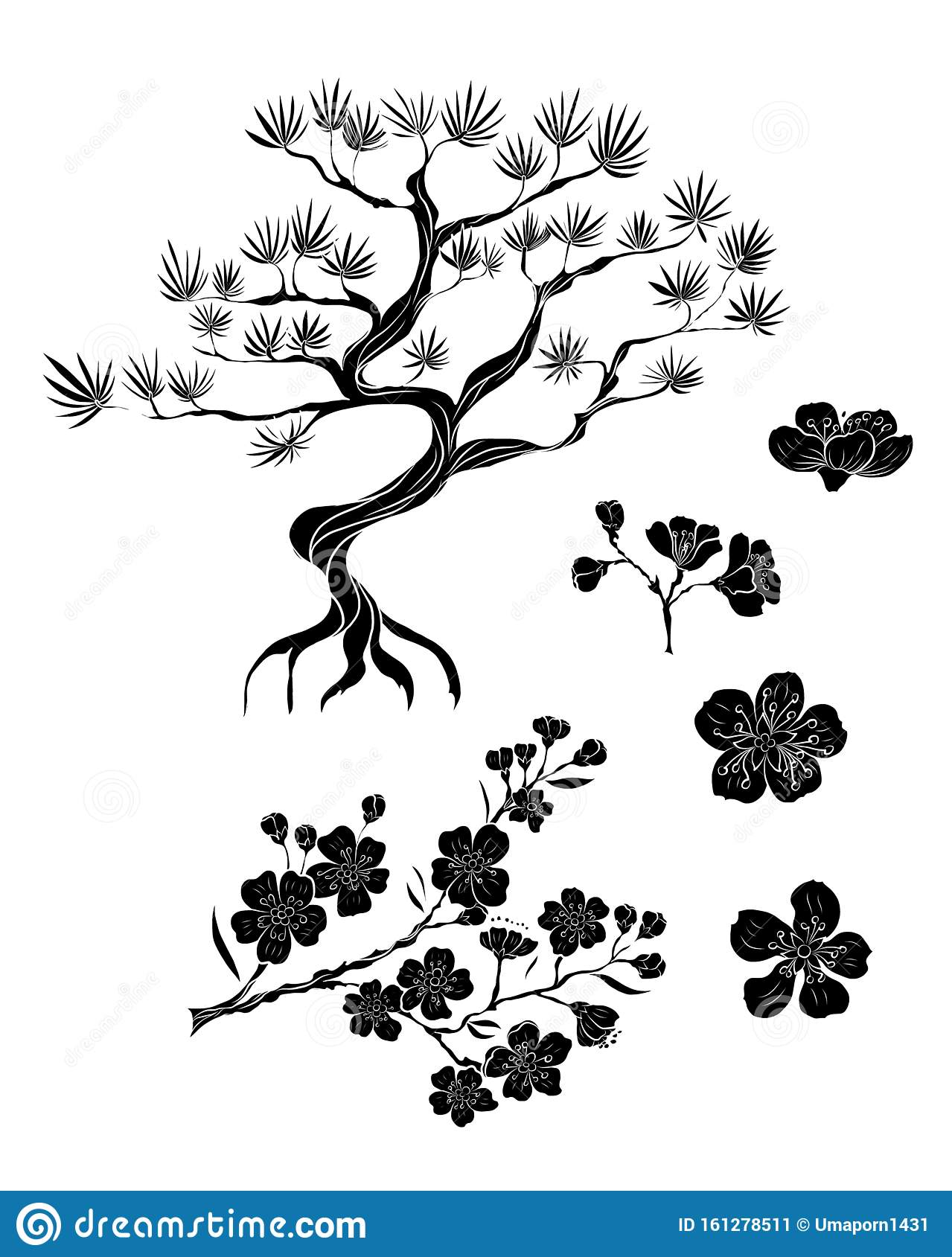 Sakura Flowervector On Background Pattern For Printing Design Chinese Tattoo Korean Background For Tattoo Style Stock Vector Illustration Of Fish Asian 161278511