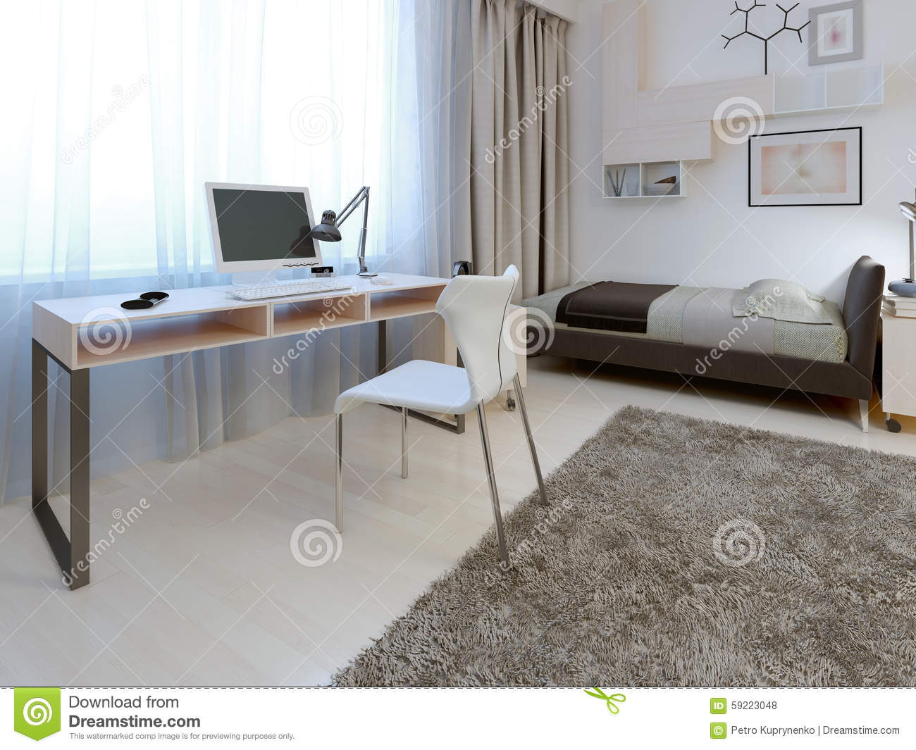 Idea Of Working Area In Modern Bedroom Stock Photo - Image of area ...