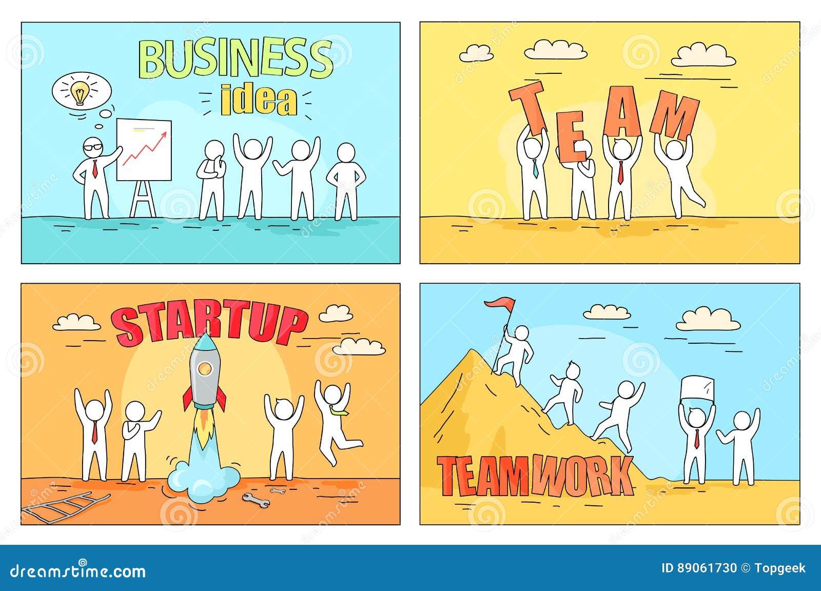 Idea Y Trabajo En Equipo Del Negocio En El Ejemplo De Lanzamiento