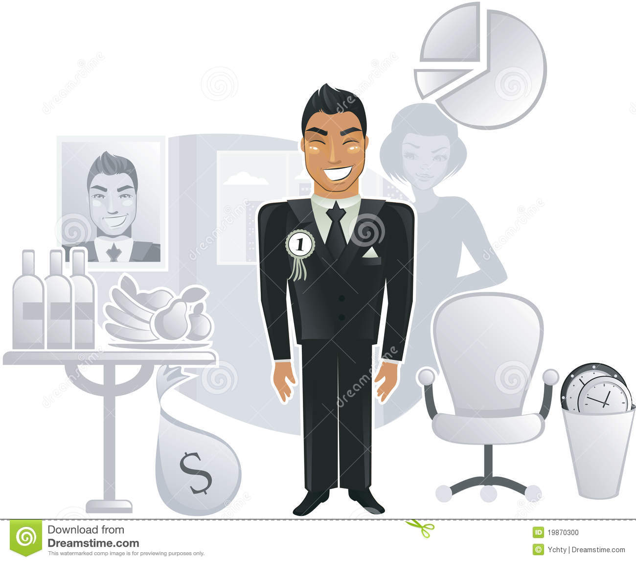 an ideal office a happy worker in vector stock photo image an ideal office a happy worker in vector