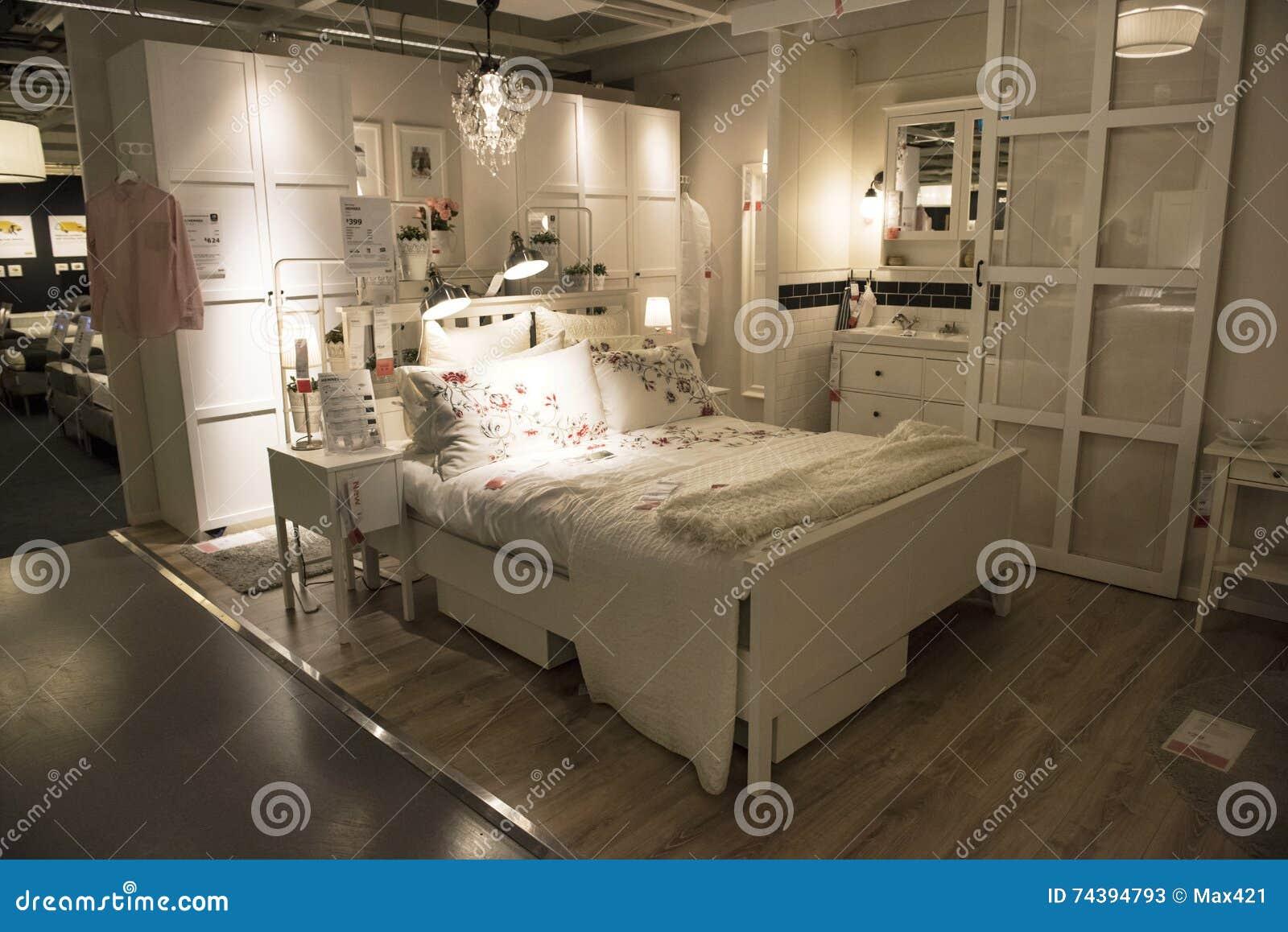 Idealna Sypialnia W Ikea Sklepie Sydney Zdjęcie Stock
