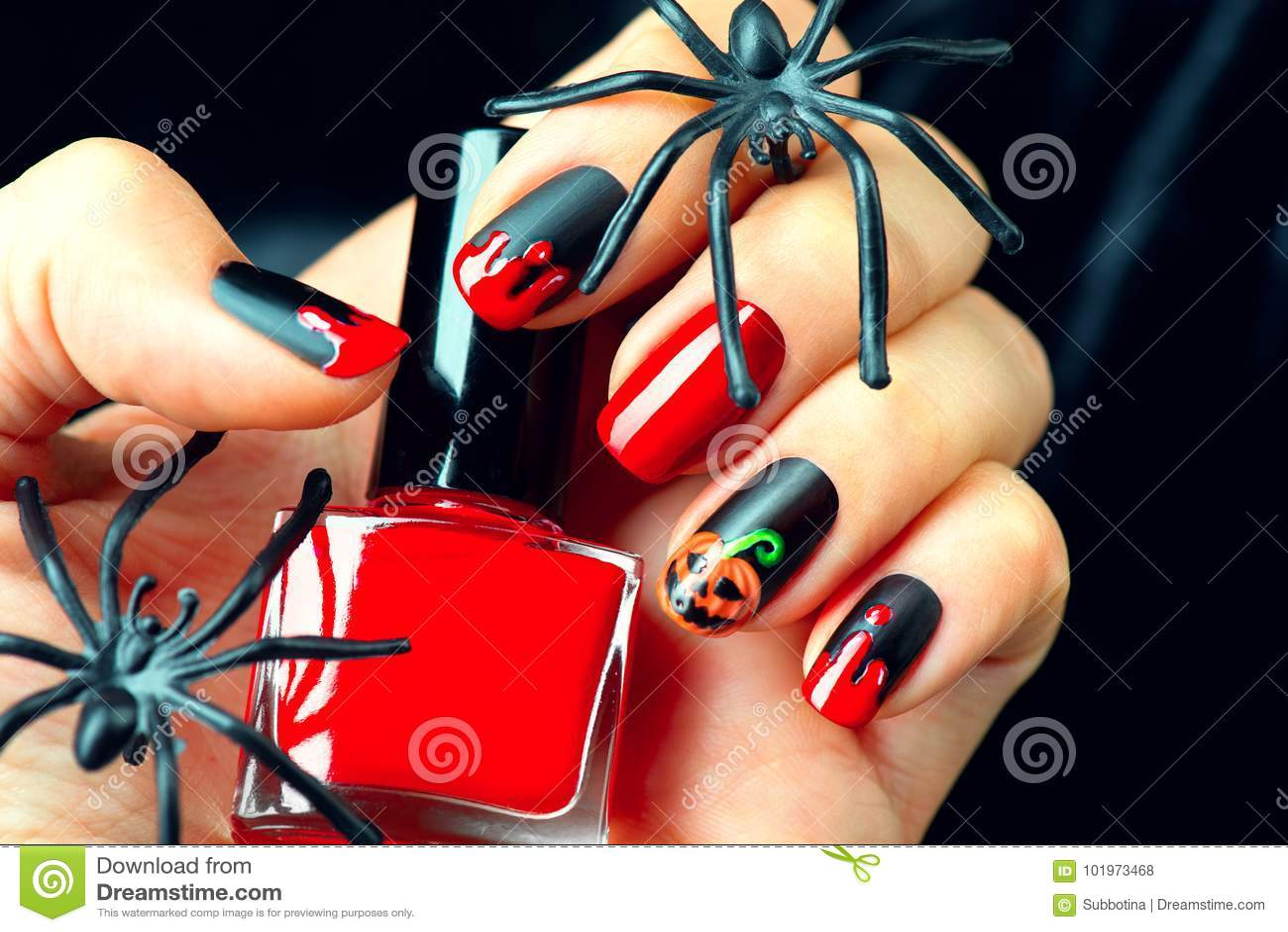 Ideas del diseño de la manicura del día de fiesta de Halloween