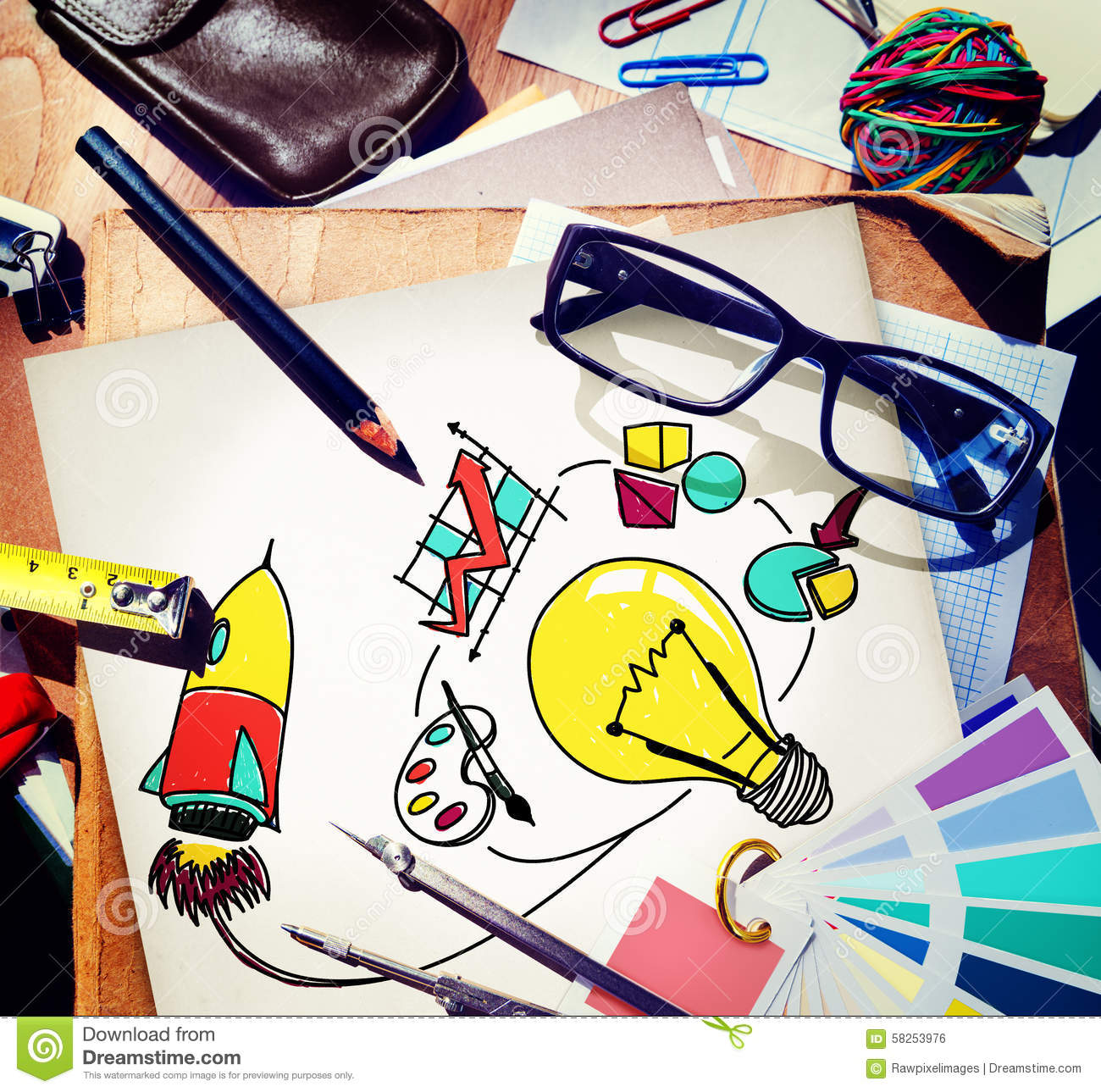 Ideas Inspiration Think Creative Research Concept Stock Photo