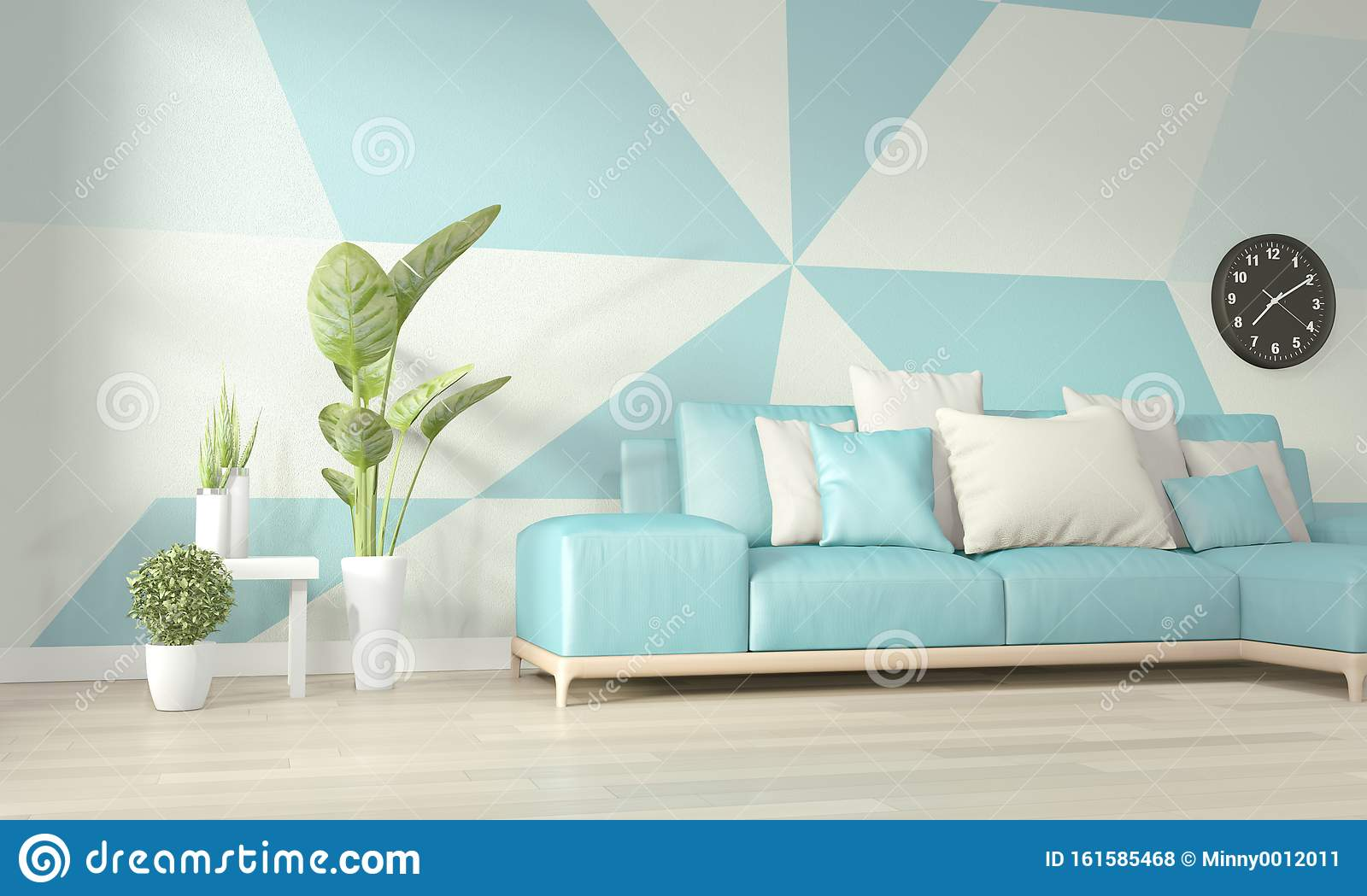 Interior Ideas Of Light Blue And White Living Room Geometric Wall Art Paint Design Color Full Style On Wooden Floor 3d Rendering Stock Illustration Illustration Of Living Indoor 161585468