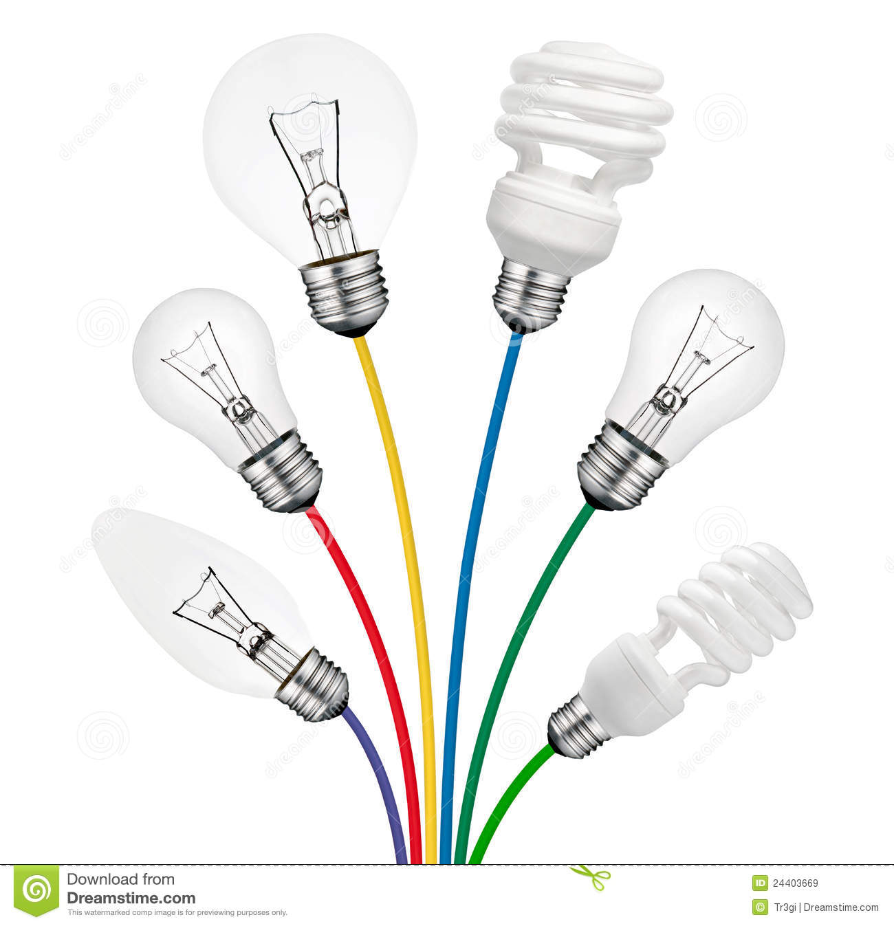 ideas lightbulbs attached to colored cables royalty free stock images