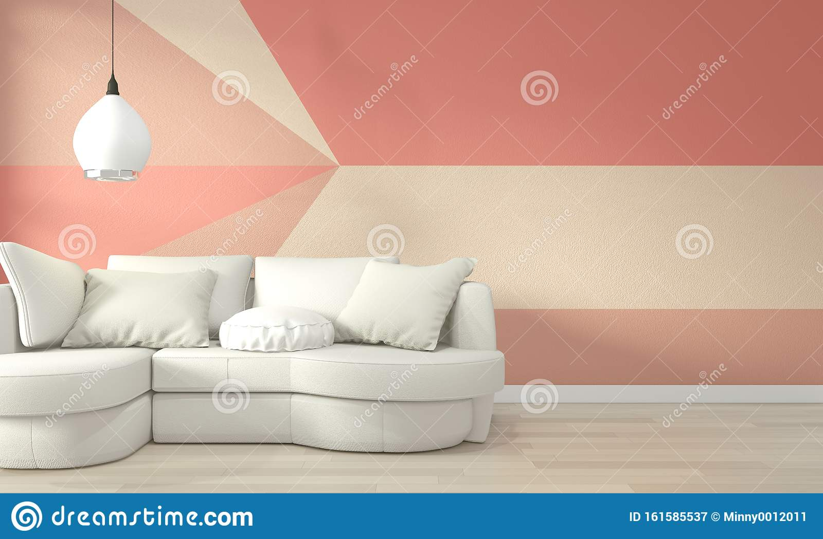 Interior Ideas Of Living Coral Living Room Geometric Wall Art Paint Design Color Full Style On Wooden Floor 3d Rendering Stock Illustration Illustration Of Floor3d Contemporary 161585537