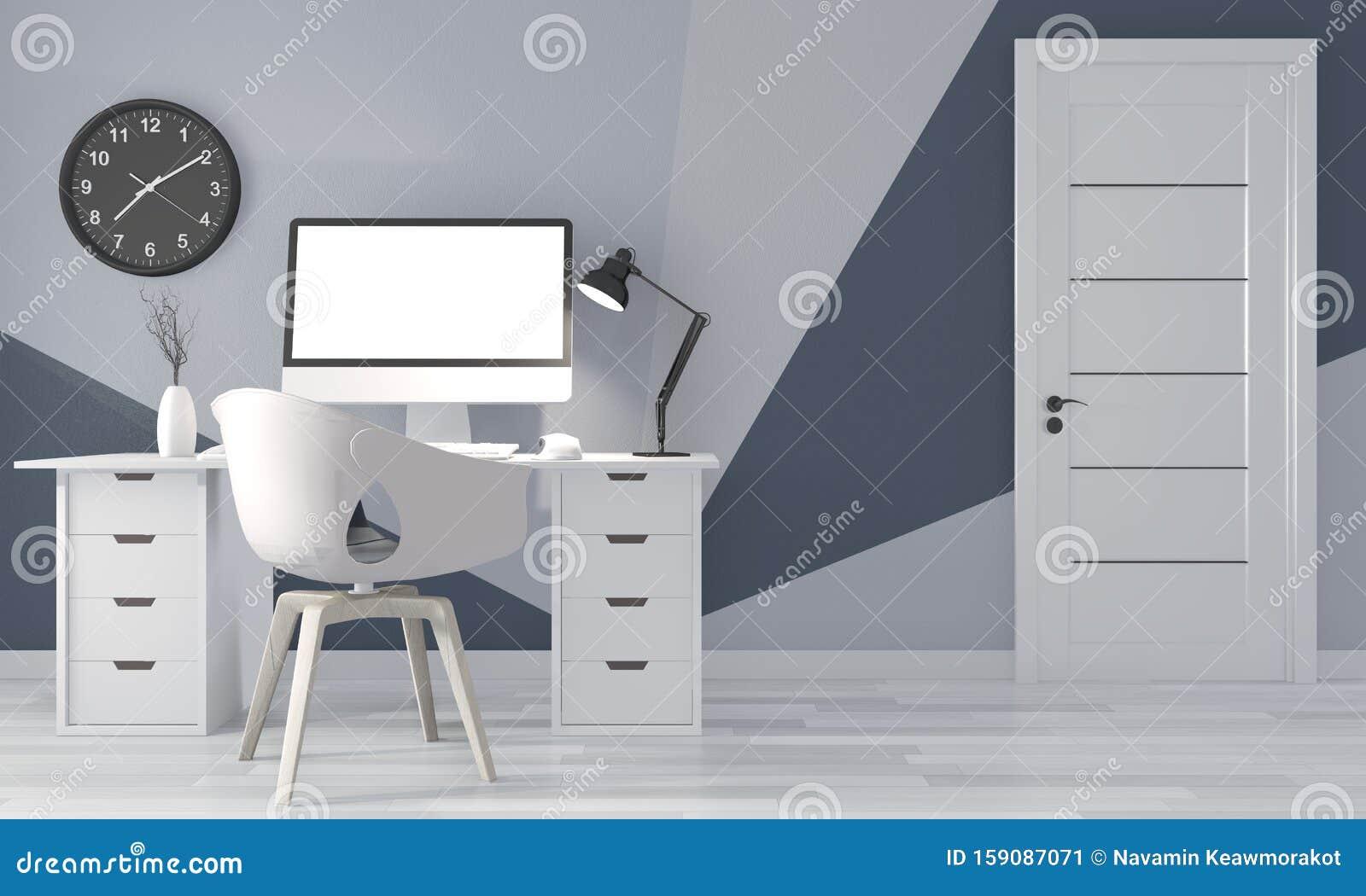 Mock Up Ideas Of Office Room Blue Geometric Wall Art Paint Design Color Ful On Wooden Floor 3d Rendering Stock Illustration Illustration Of Curtain Desk 159087071