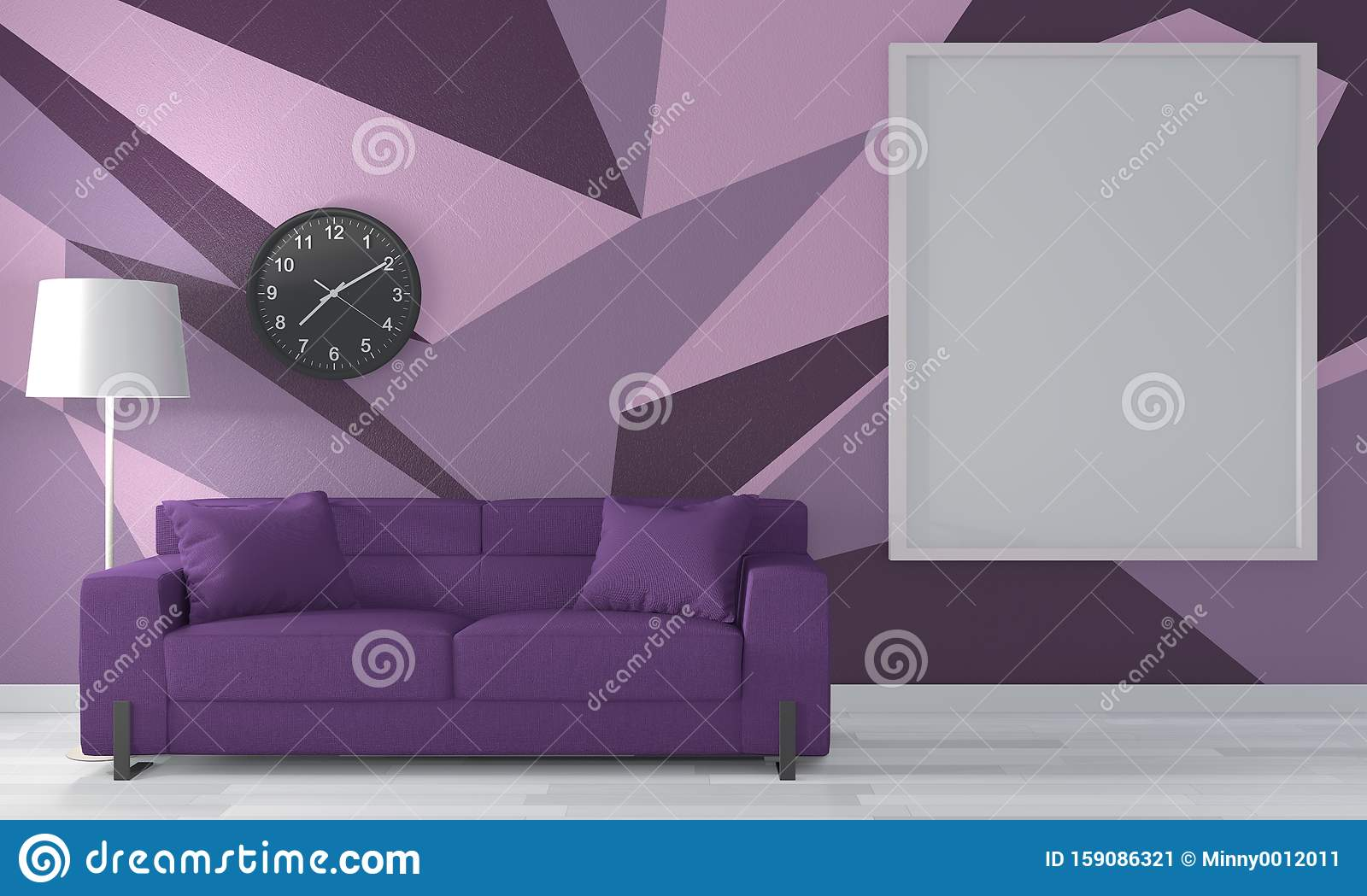 Mock Up Ideas Of Purple Room Geometric Wall Art Paint Design Color Full Style On Wooden Floor 3d Rendering Stock Illustration Illustration Of Concept Branch 159086321