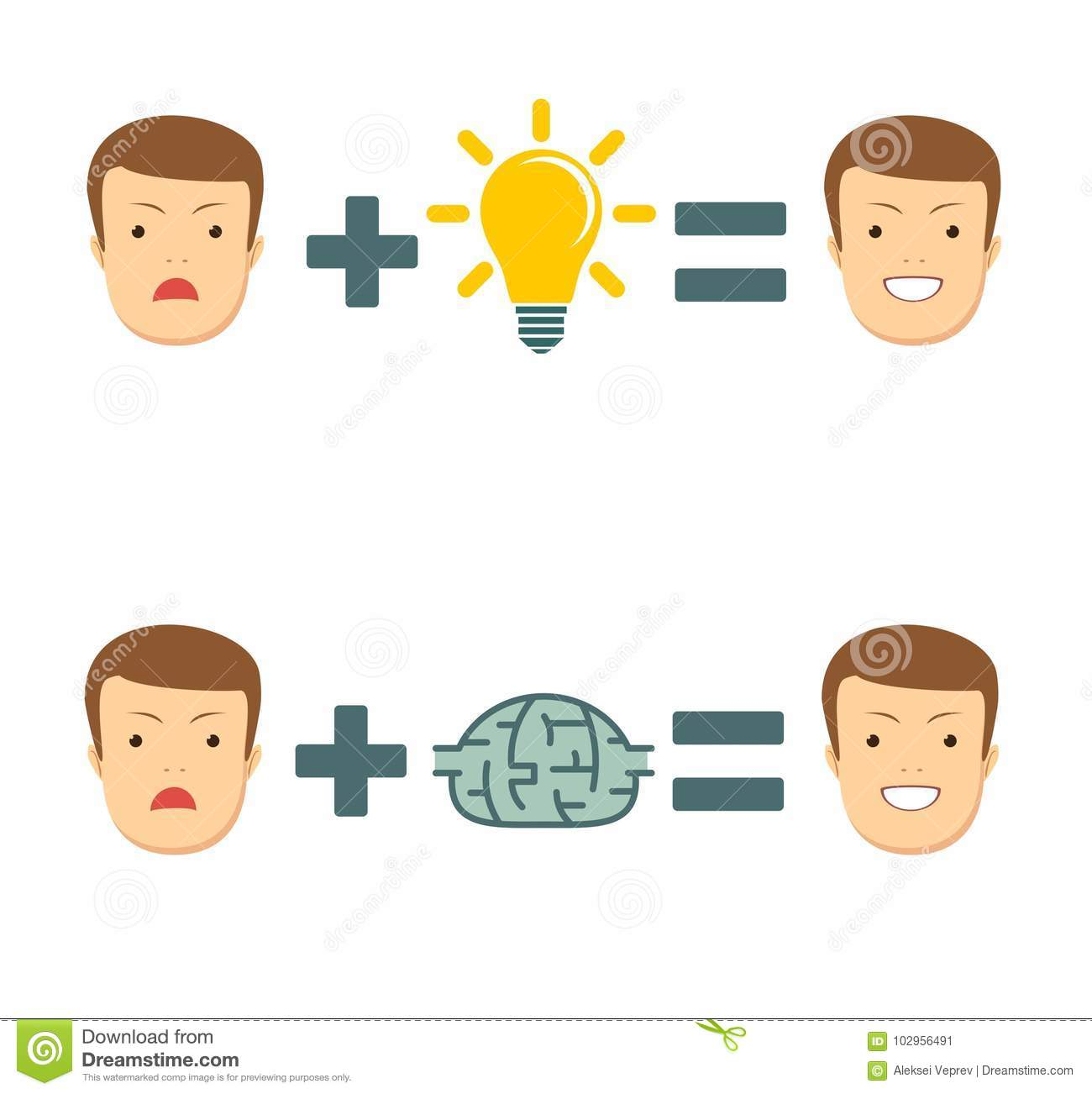Idees And Solutions: Ideas And Solutions Makes You Smile . Stock Vector