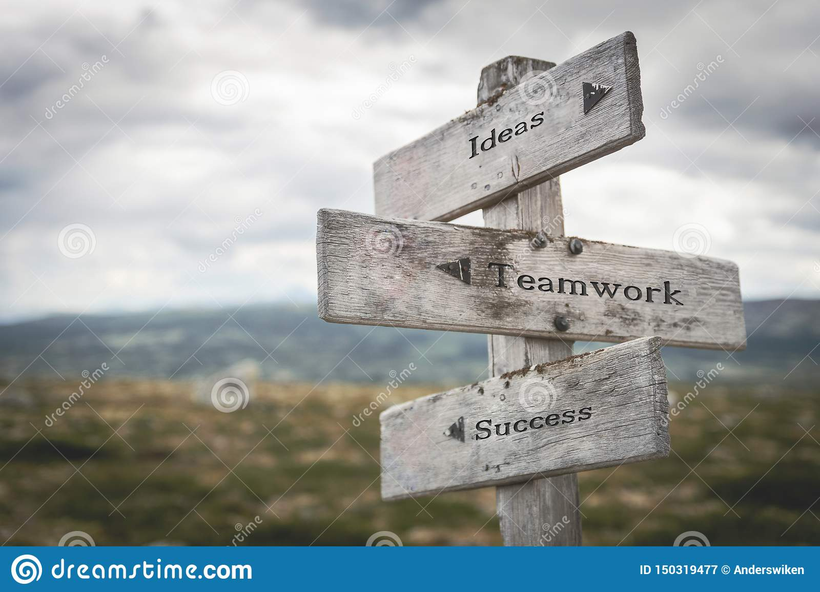 Ideas, teamwork and success signpost outdoors in nature.