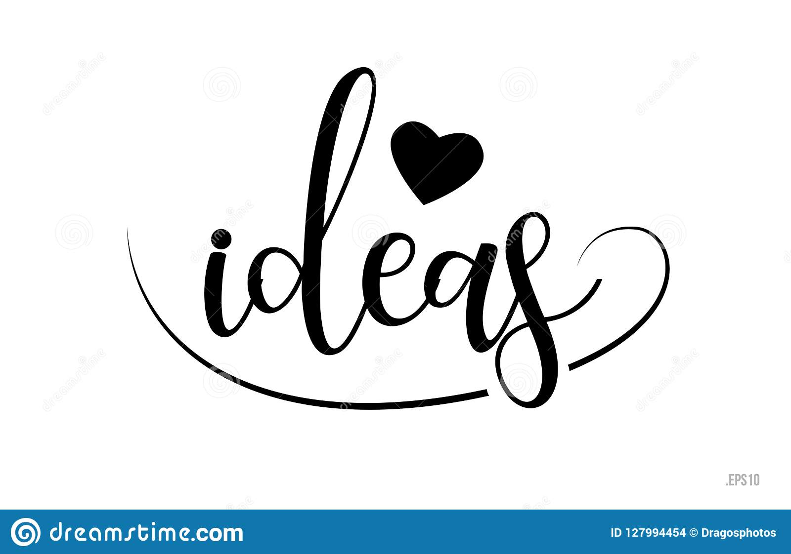Ideas Typography Text With Love Heart Stock Vector