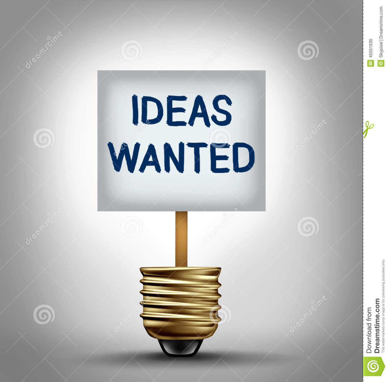 Ideas wanted concept and talent search symbol as a sign with a ...