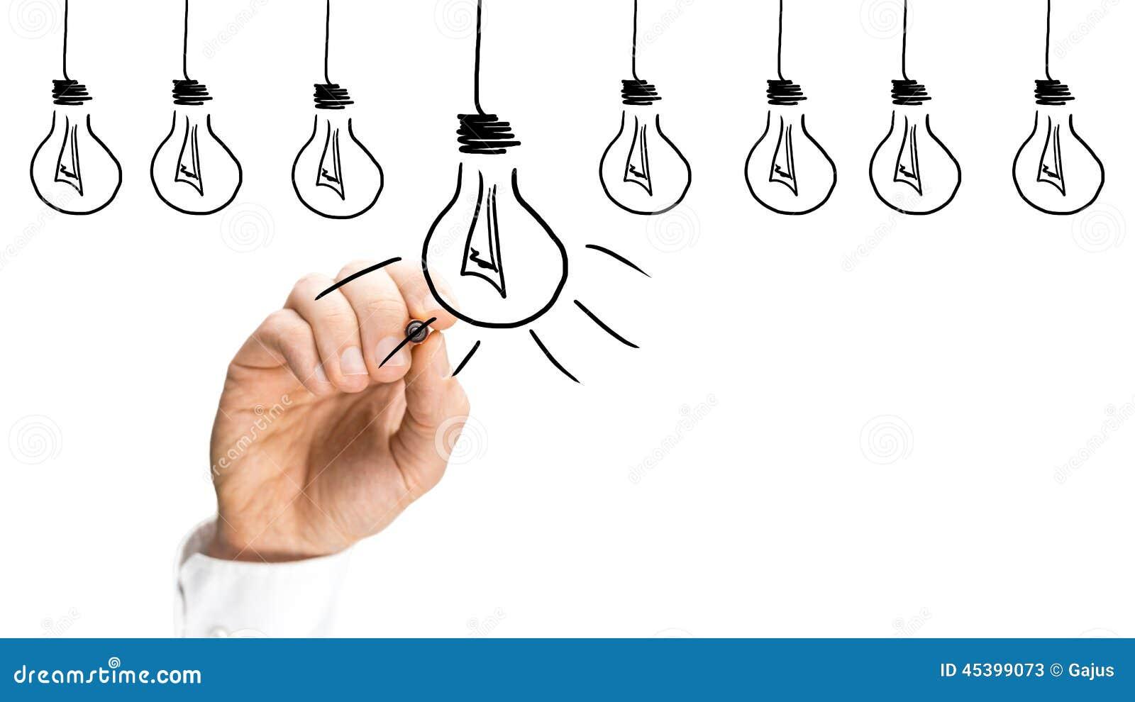 Ideas y concepto de la inspiración con las bombillas