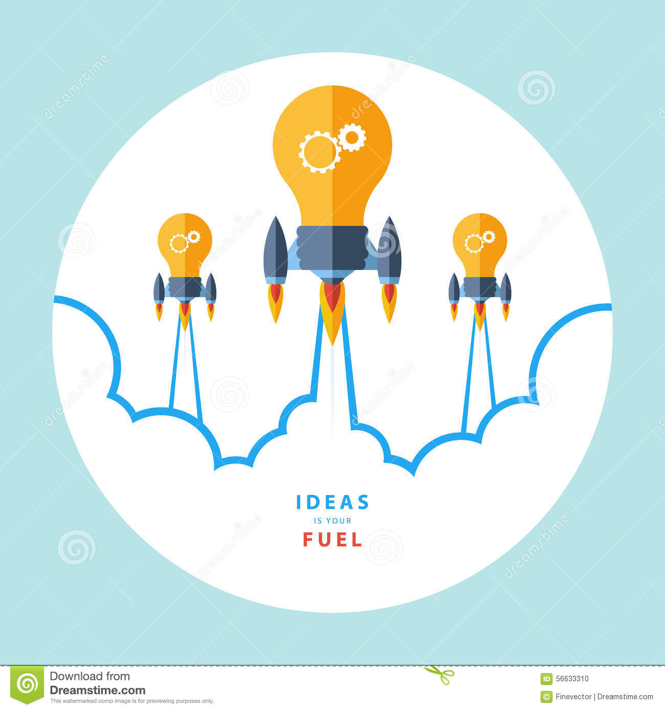 ideas is your fuel flat design colorful vector
