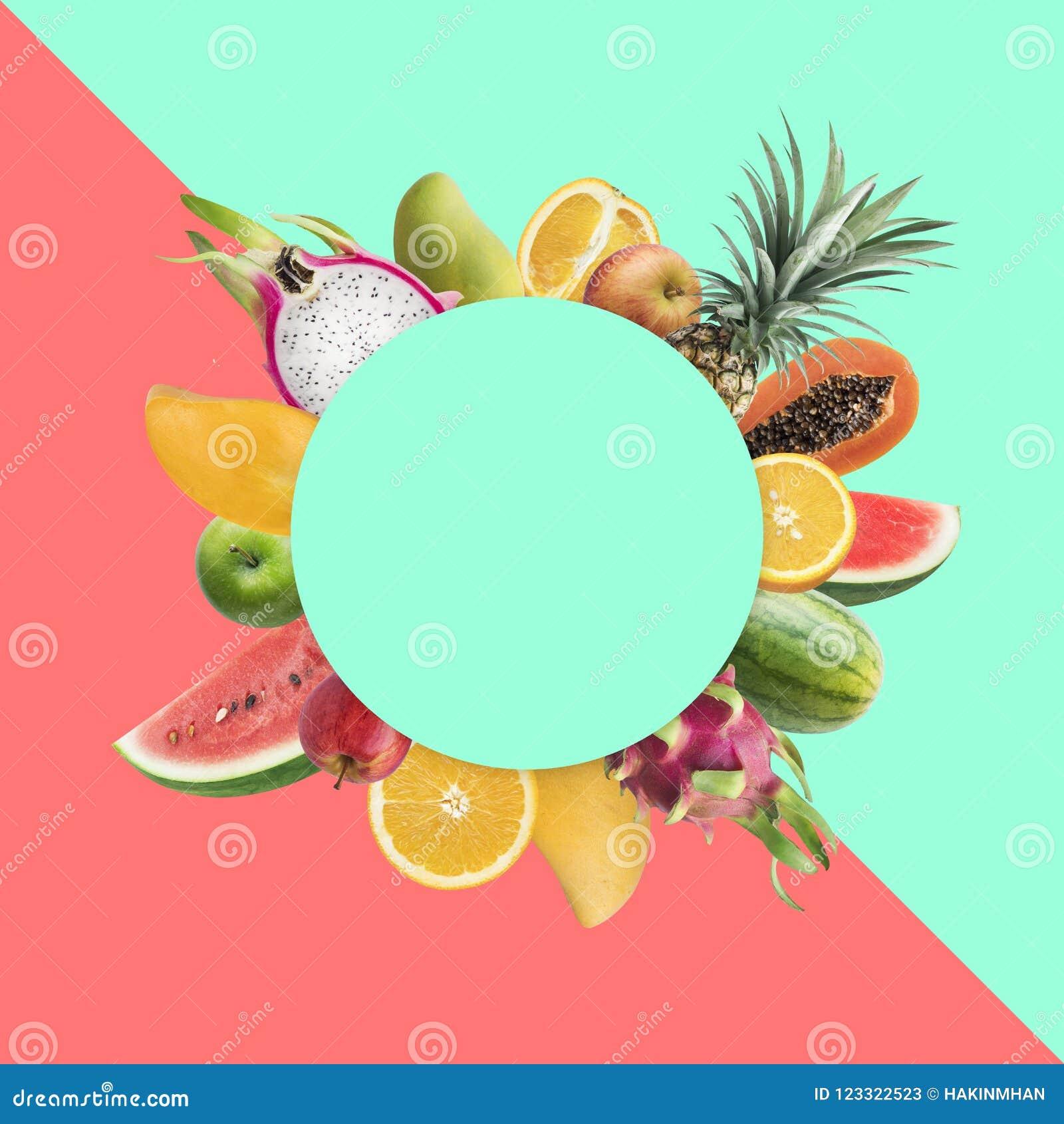 Idee di concetti di festival del mercato di frutti con lo spazio variopinto della copia