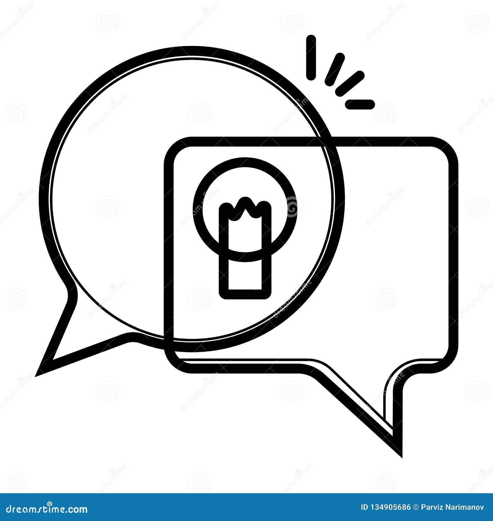 Idee, inzicht, uitwisselings van ideeënpictogram