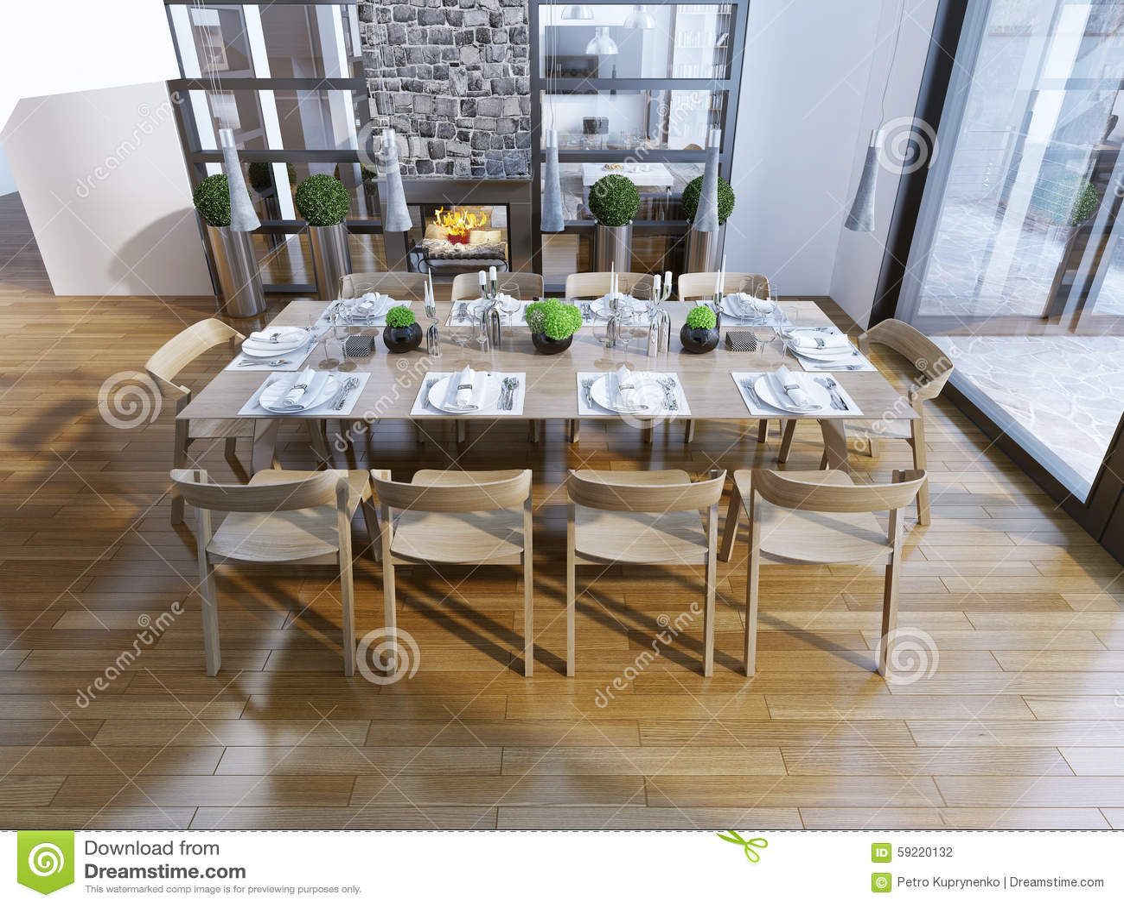 Idee van de eetkamer met open haard stock foto afbeelding