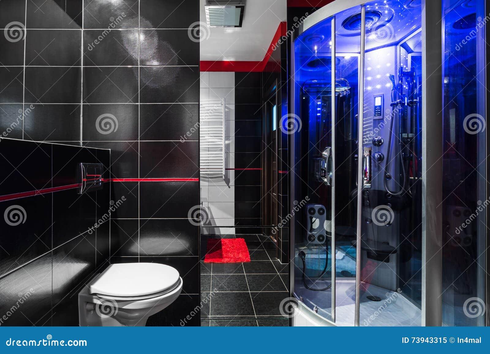 Idee van de luxe het high tech badkamers stock afbeelding