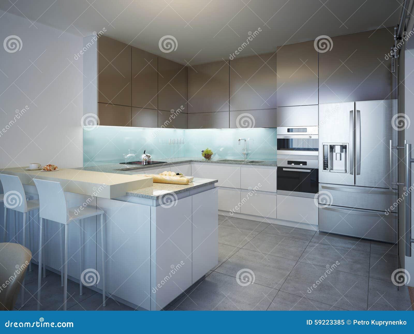 Idee van eigentijdse keuken stock afbeelding afbeelding