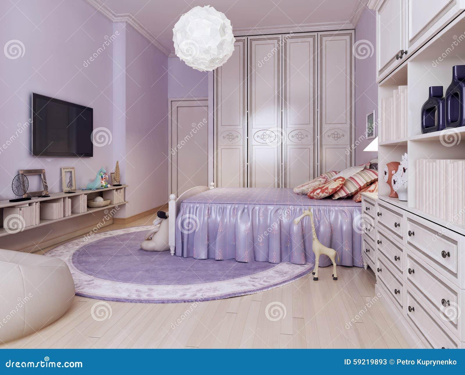 Idee van heldere slaapkamer voor meisjes stock afbeelding