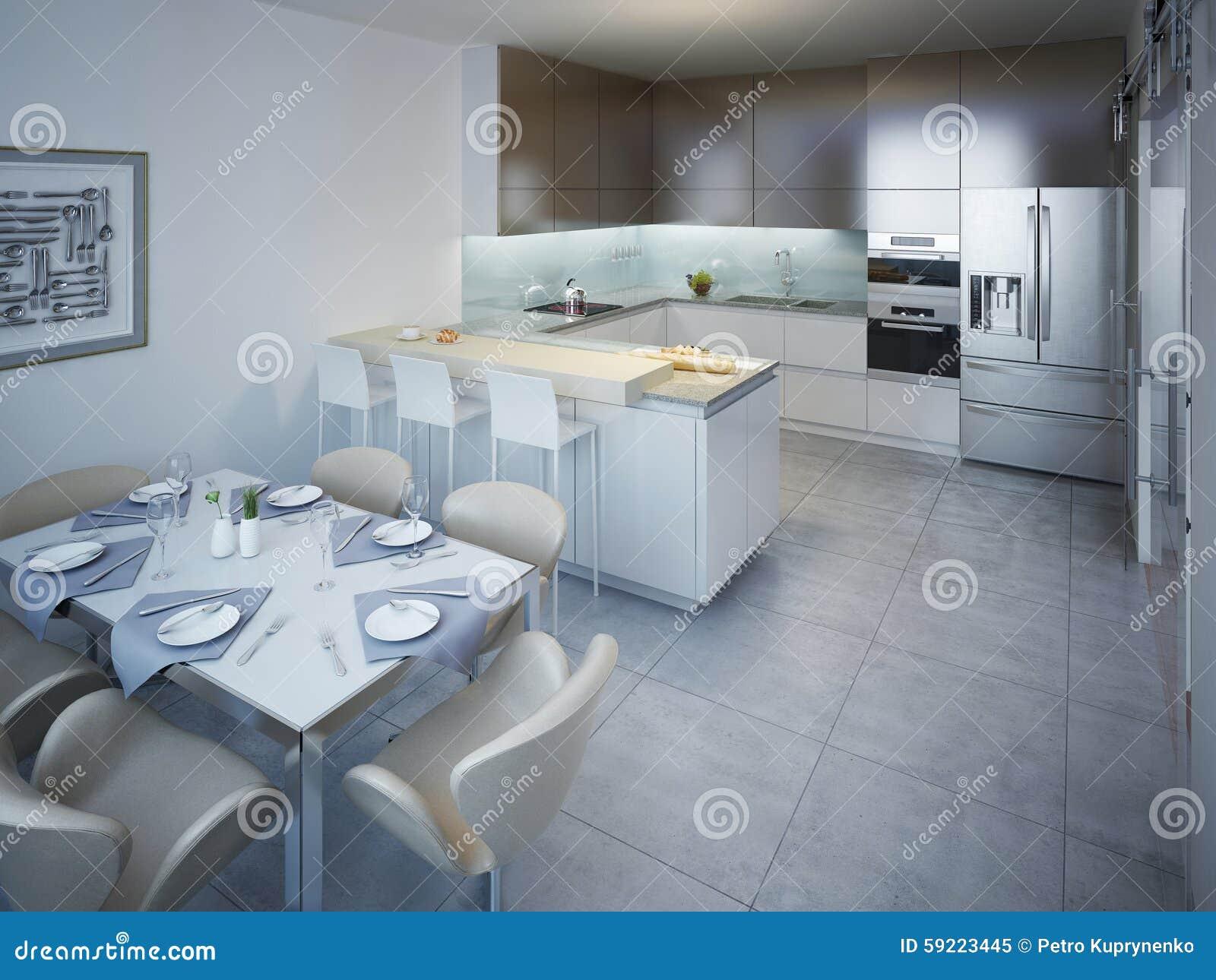 Witte Minimalistische Woonkeuken : Idee van minimalistische keuken met bar stock afbeelding