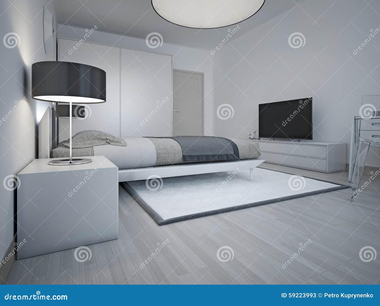 Idee van ruime moderne slaapkamer met grijze muren stock afbeelding afbeelding 59223993 - Foto van volwassen slaapkamer ...