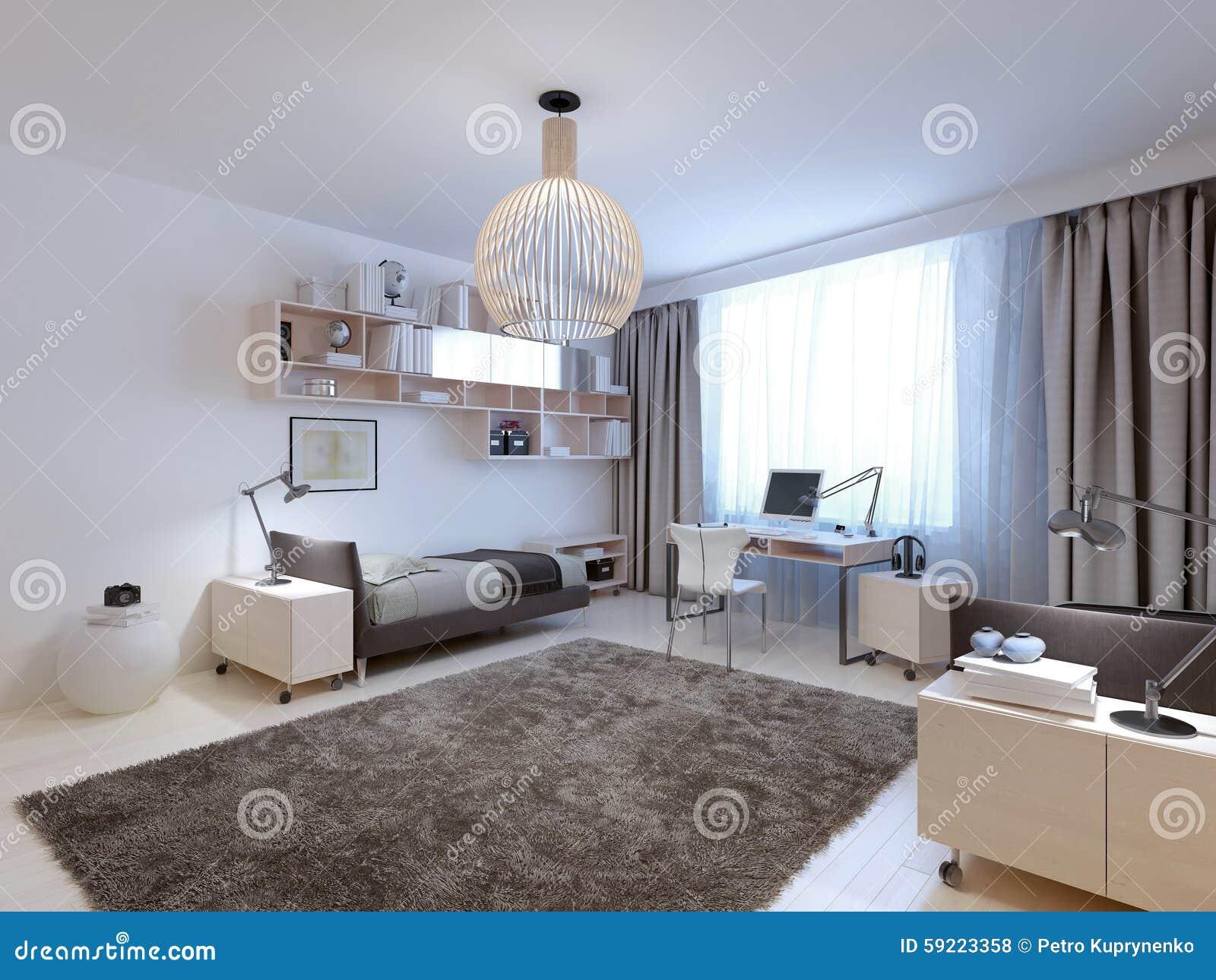 Idee van tieners eigentijdse slaapkamer stock foto afbeelding 59223358 - Eigentijdse stijl slaapkamer ...