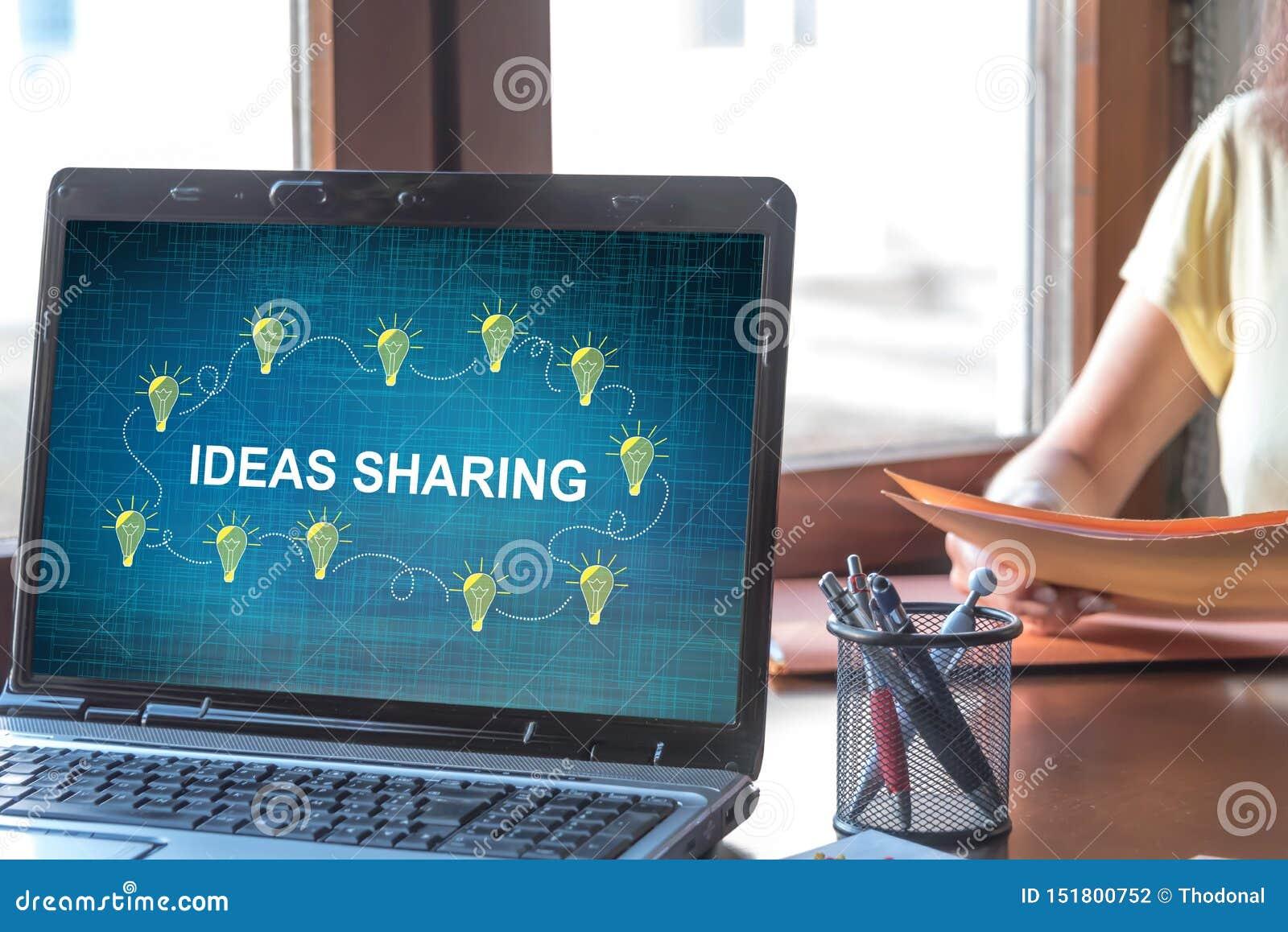 Ideen, die Konzept auf einem Laptopschirm teilen