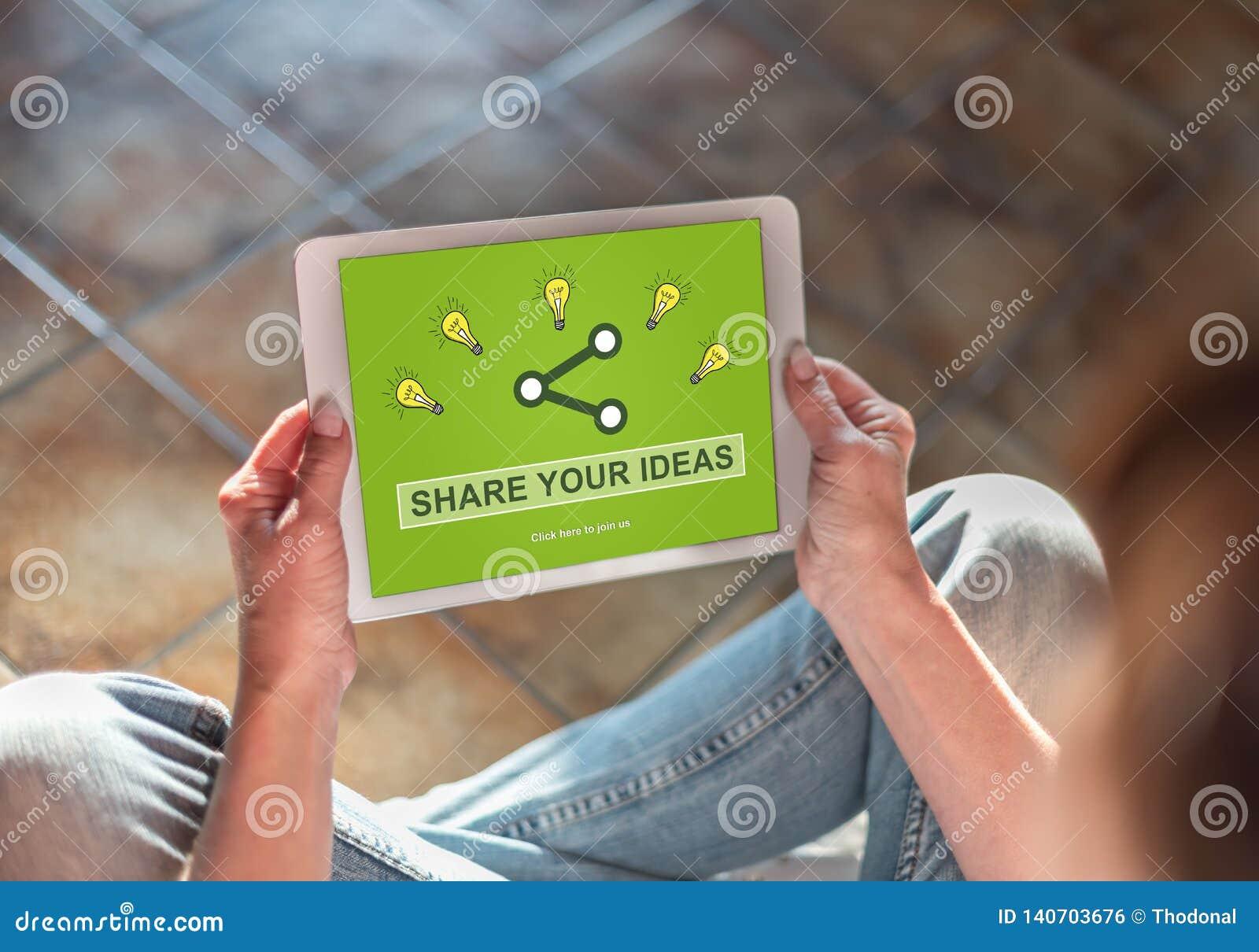 Ideen, die Konzept auf einer Tablette teilen