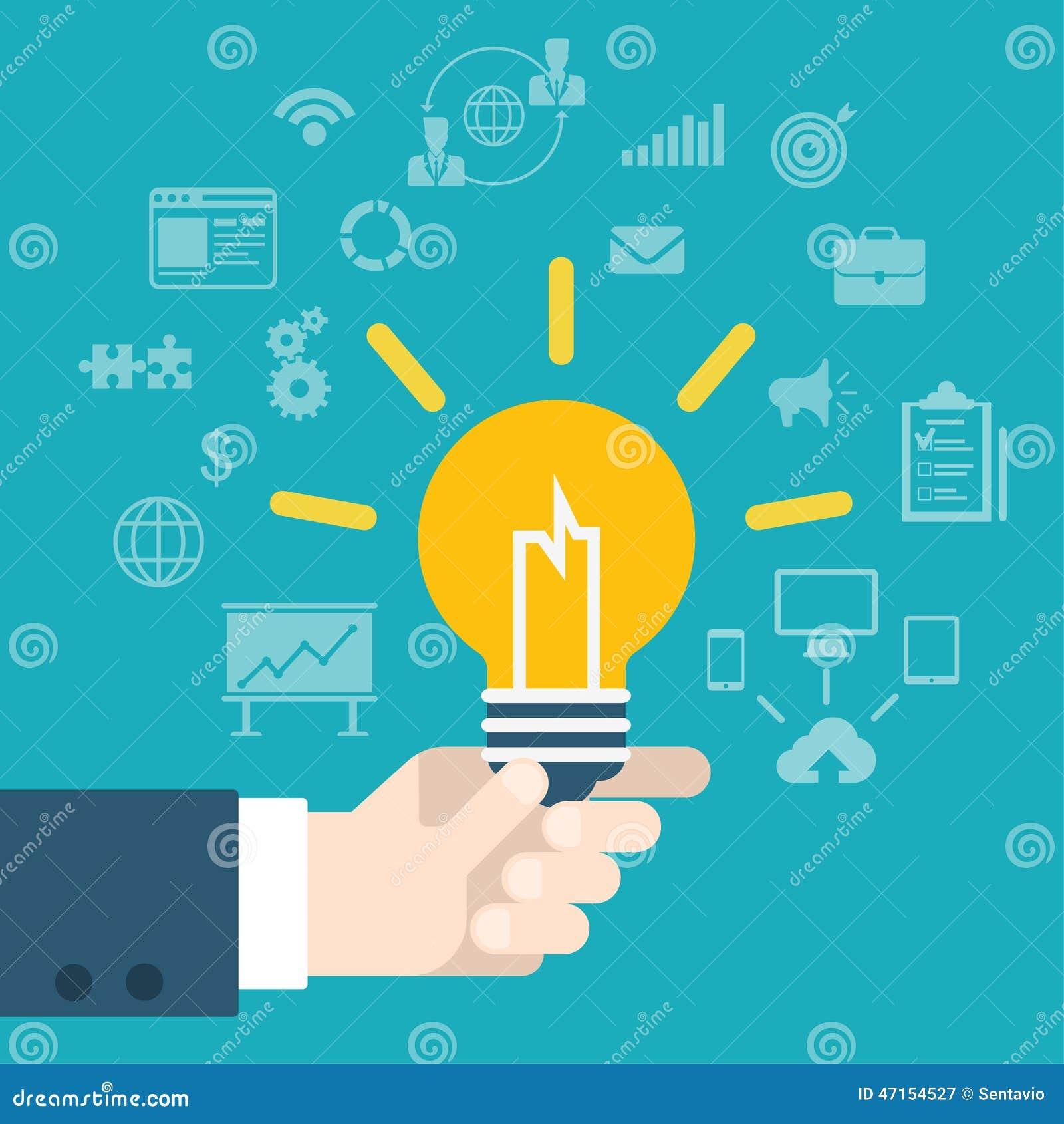 Ideen innovationshand der flachen art moderne die lampe infographic hält
