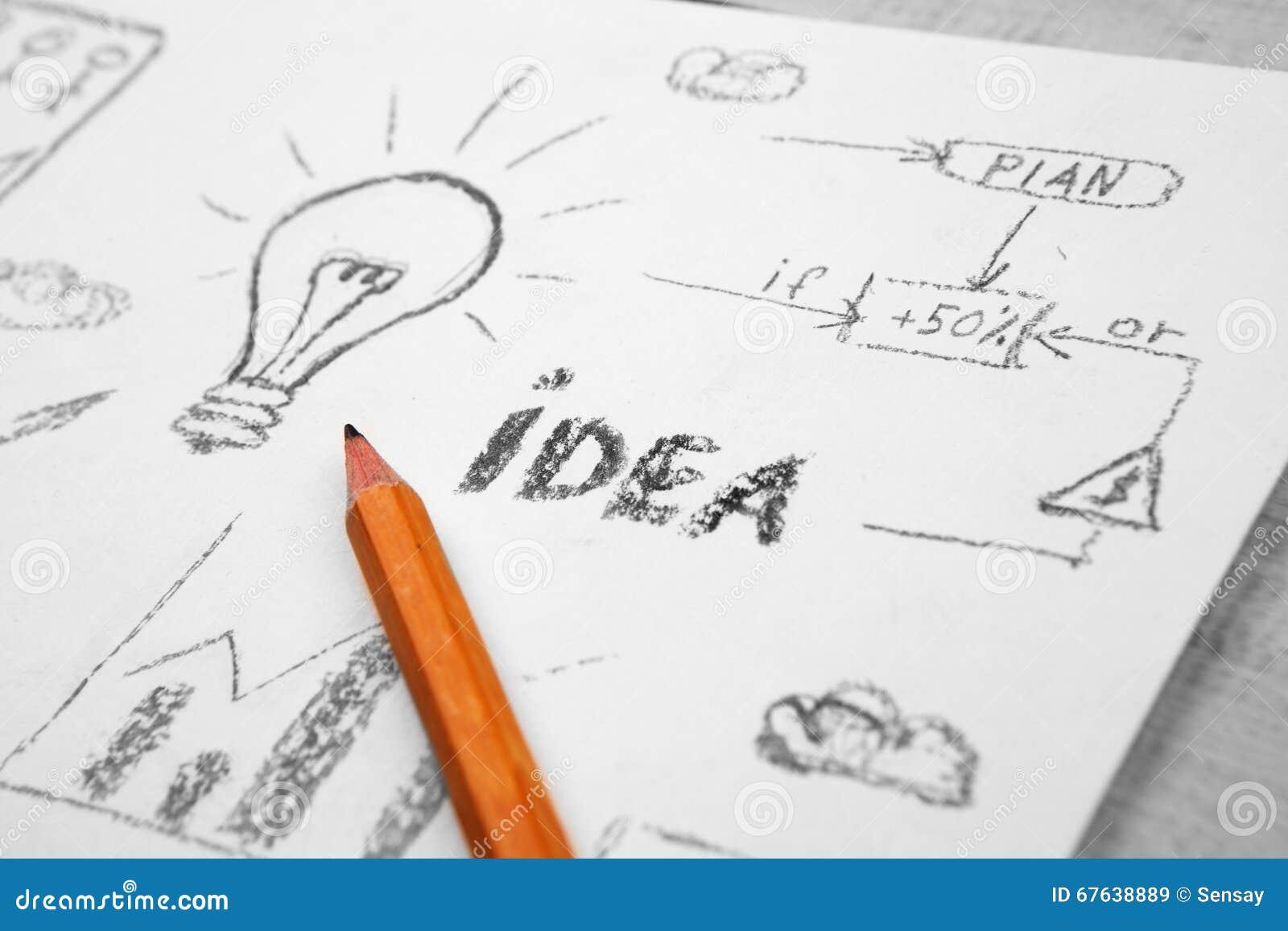 Ideenkonzept Birne Gezeichnet Mit Bleistift Stockbild