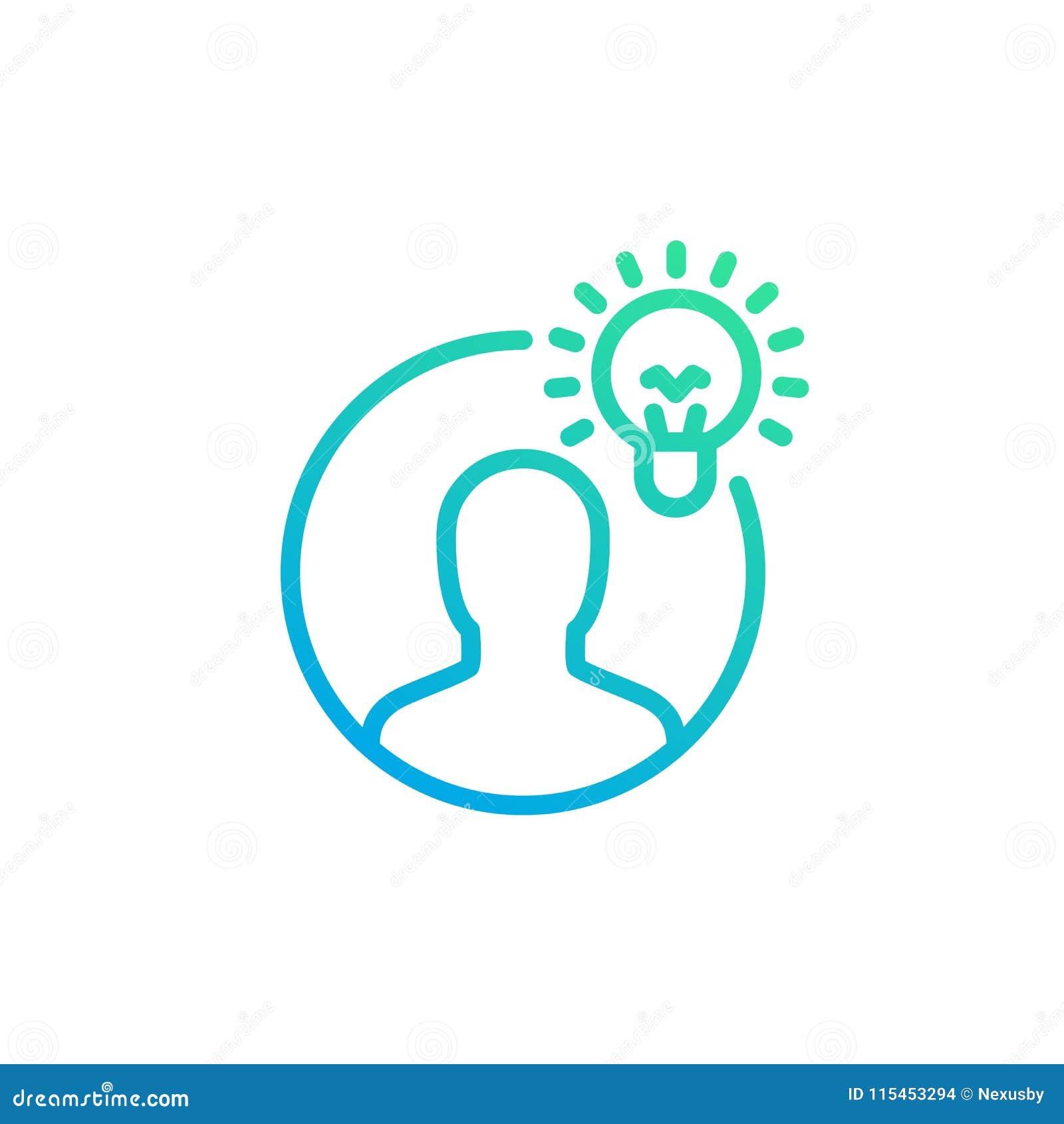 Ideia, ícone linear da introspecção