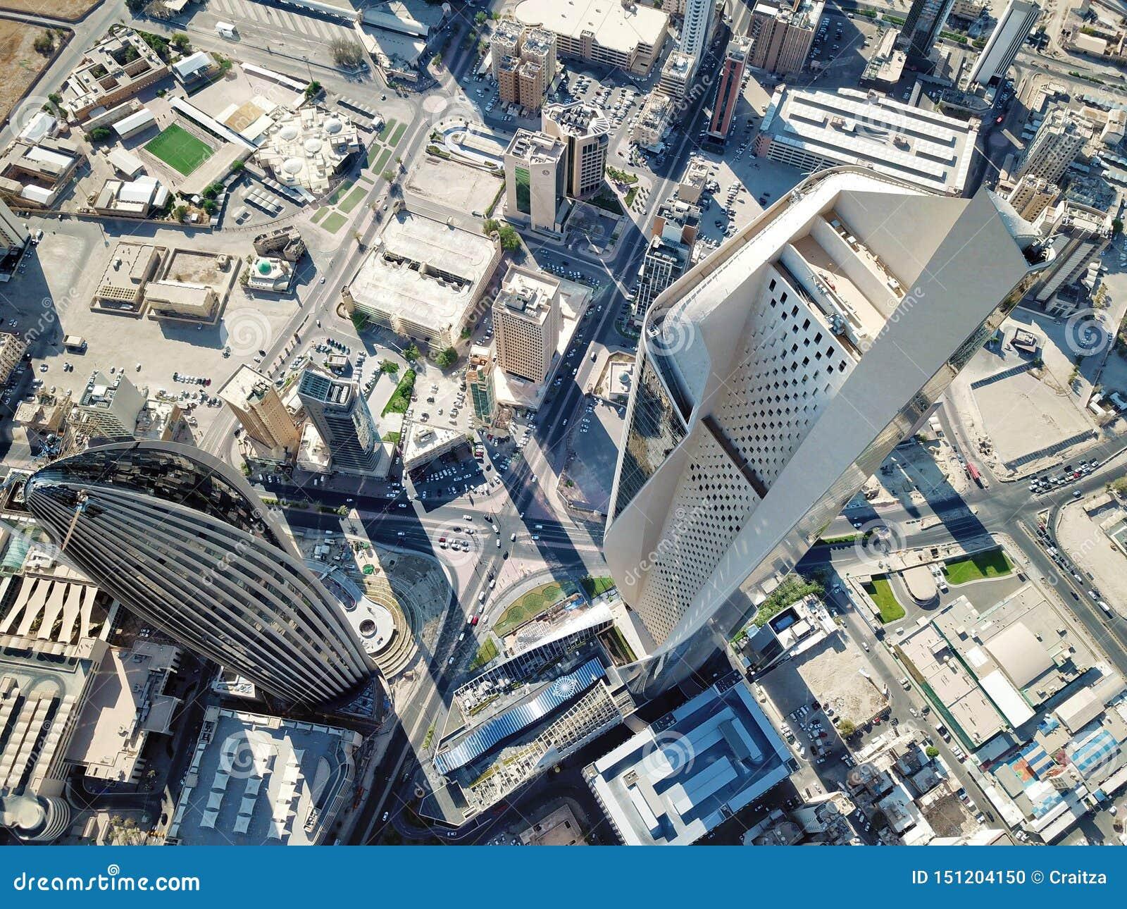 Ideia aérea da arquitetura moderna do centro da Cidade do Kuwait