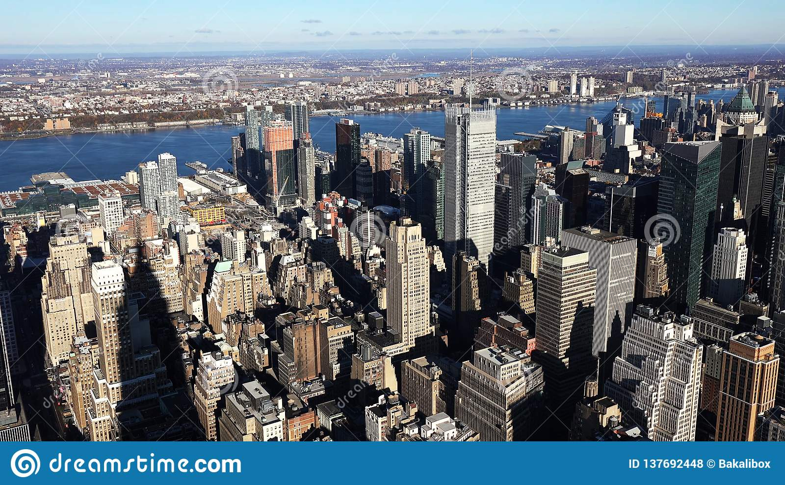 Ideia aérea de manhattan/vista aérea dos arranha-céus do Midtown Manhattan New York City 2019