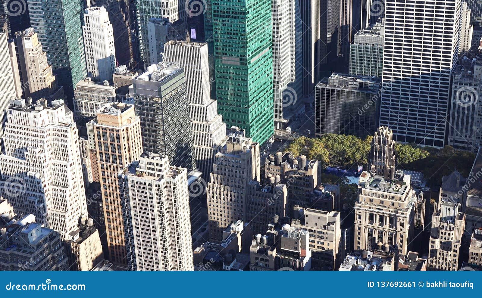 Ideia aérea de manhattan/vista aérea dos arranha-céus do Midtown Manhattan New York City