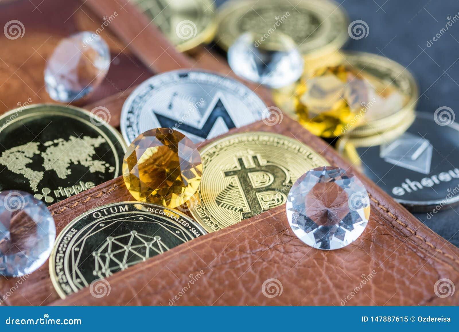 Ideia da imagem virtual do conceito do cryptocurrency
