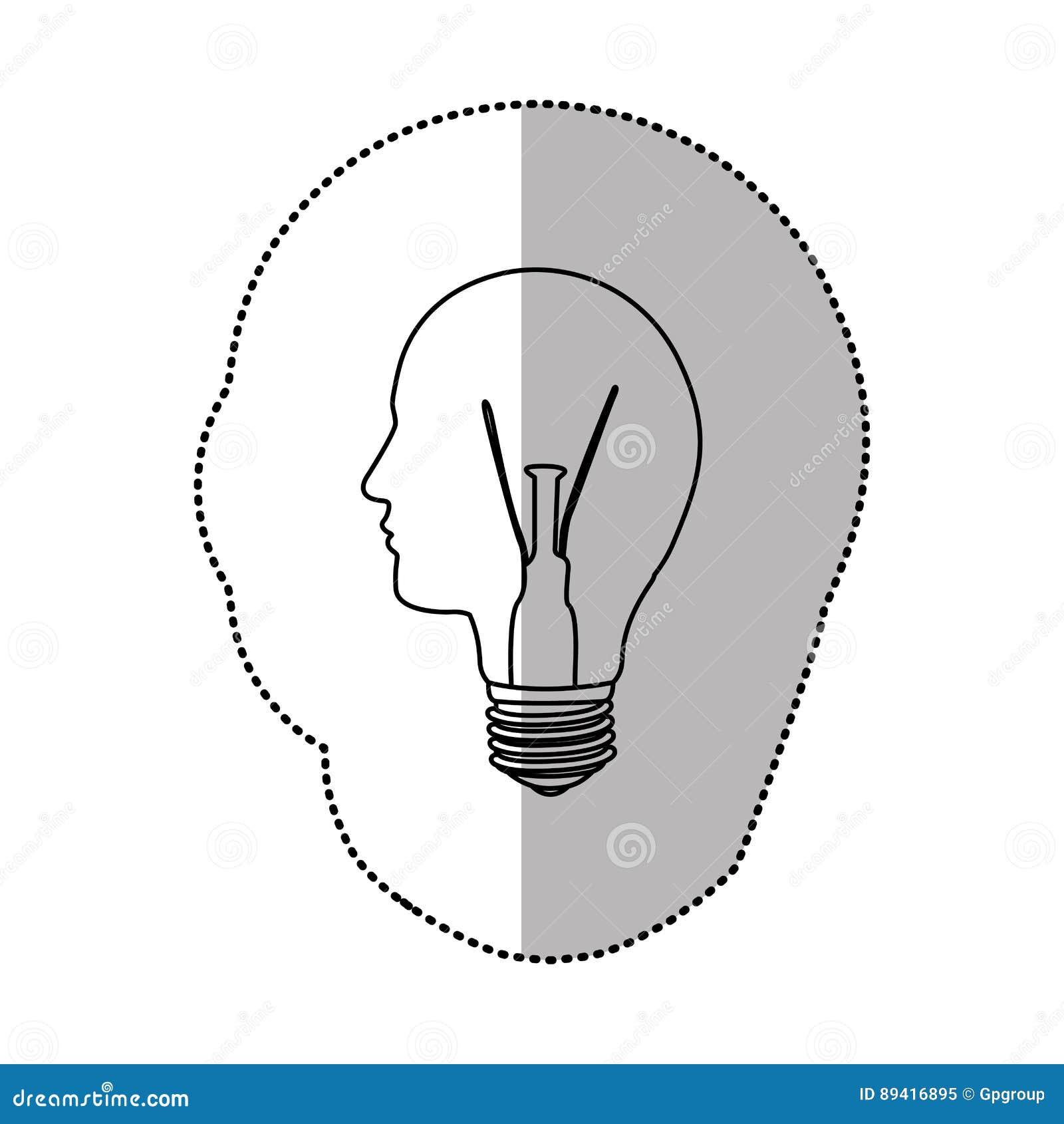 Ideia da luz de bulbo da pessoa