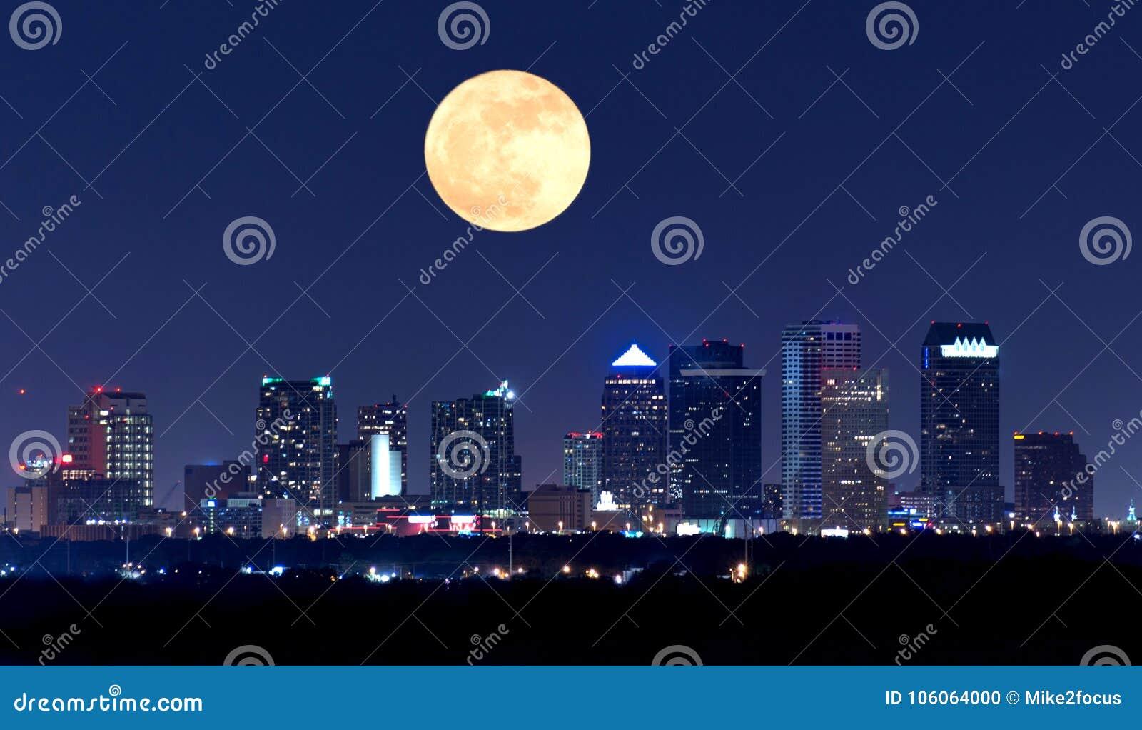 Ideia da noite da skyline de Tampa Florida com a Lua cheia enorme no céu