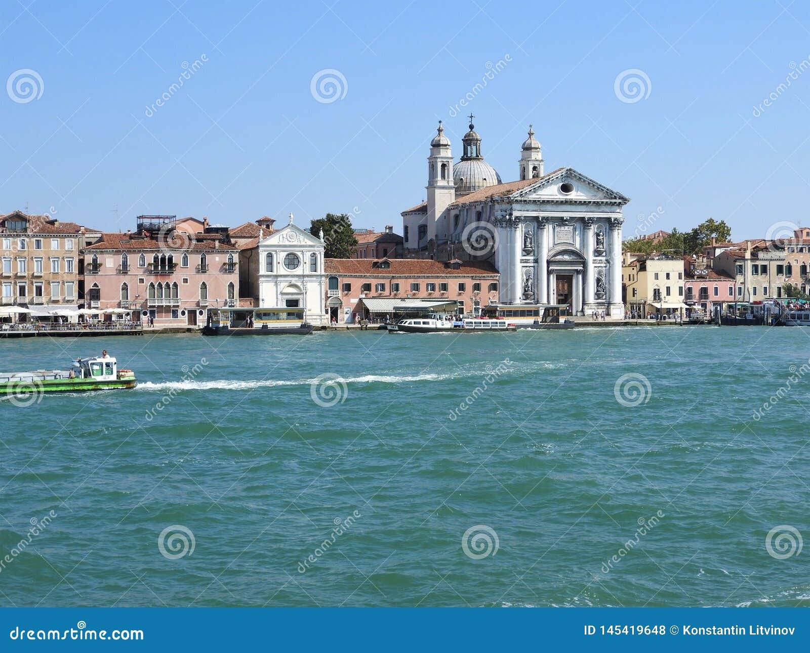 Ideia de Veneza, de It?lia e de sua outra arquitetura do canal grande, dia claro