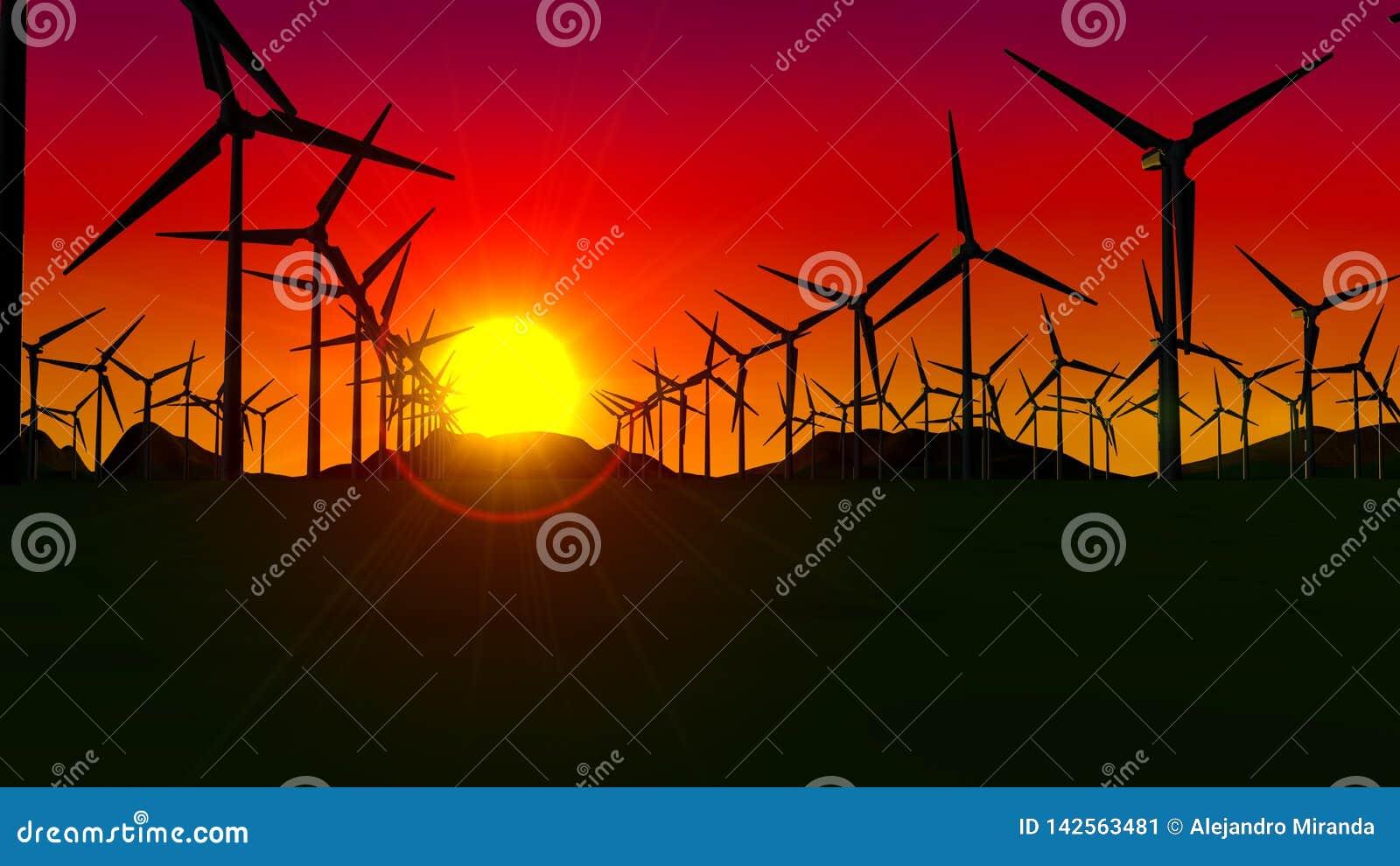 Ideia dianteira de um grupo de turbinas que formam uma exploração agrícola de vento no por do sol com o sol no fundo e no céu ver