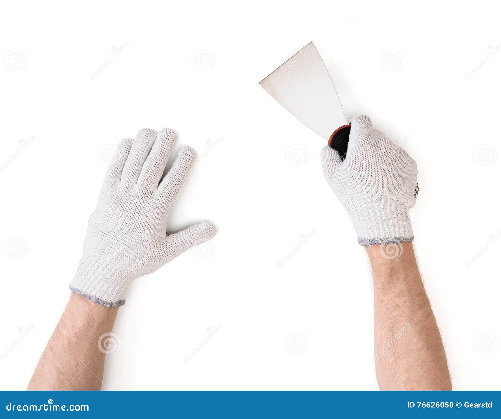 Ideia do close-up do man& x27; mãos de s nas luvas brancas do algodão com faca de massa de vidraceiro