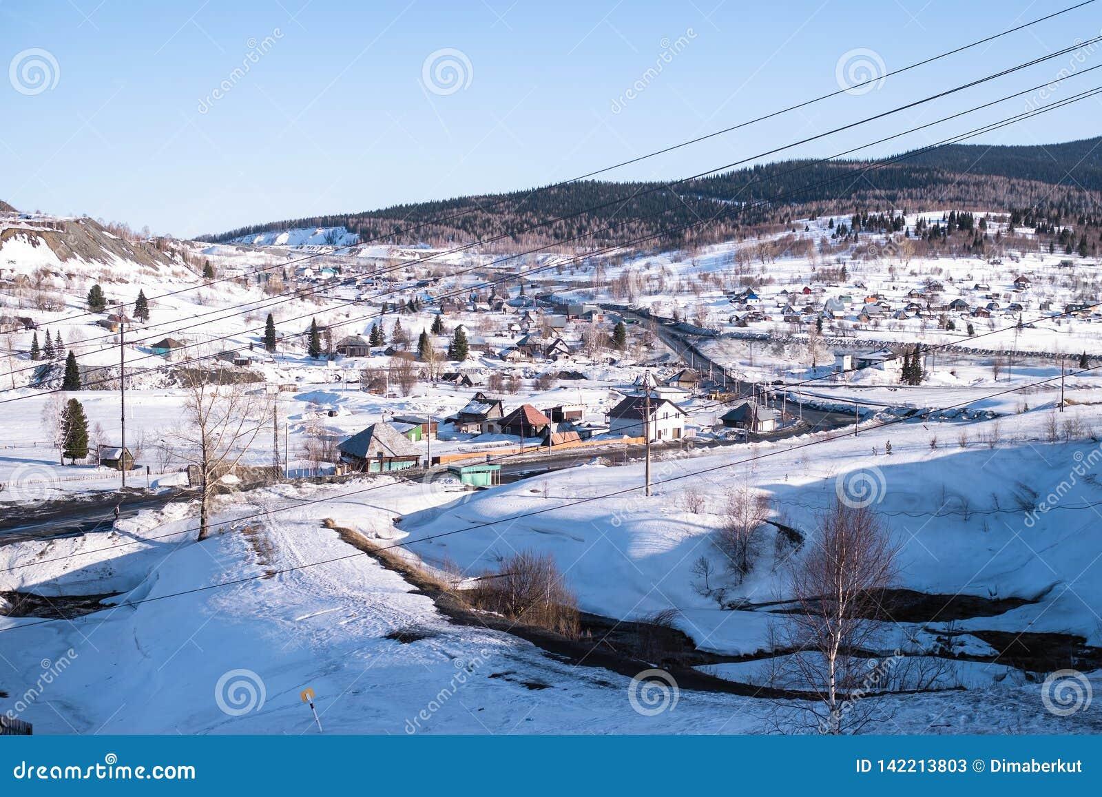 Ideia do urbano-tipo pagamento de Sheregesh em Sibéria