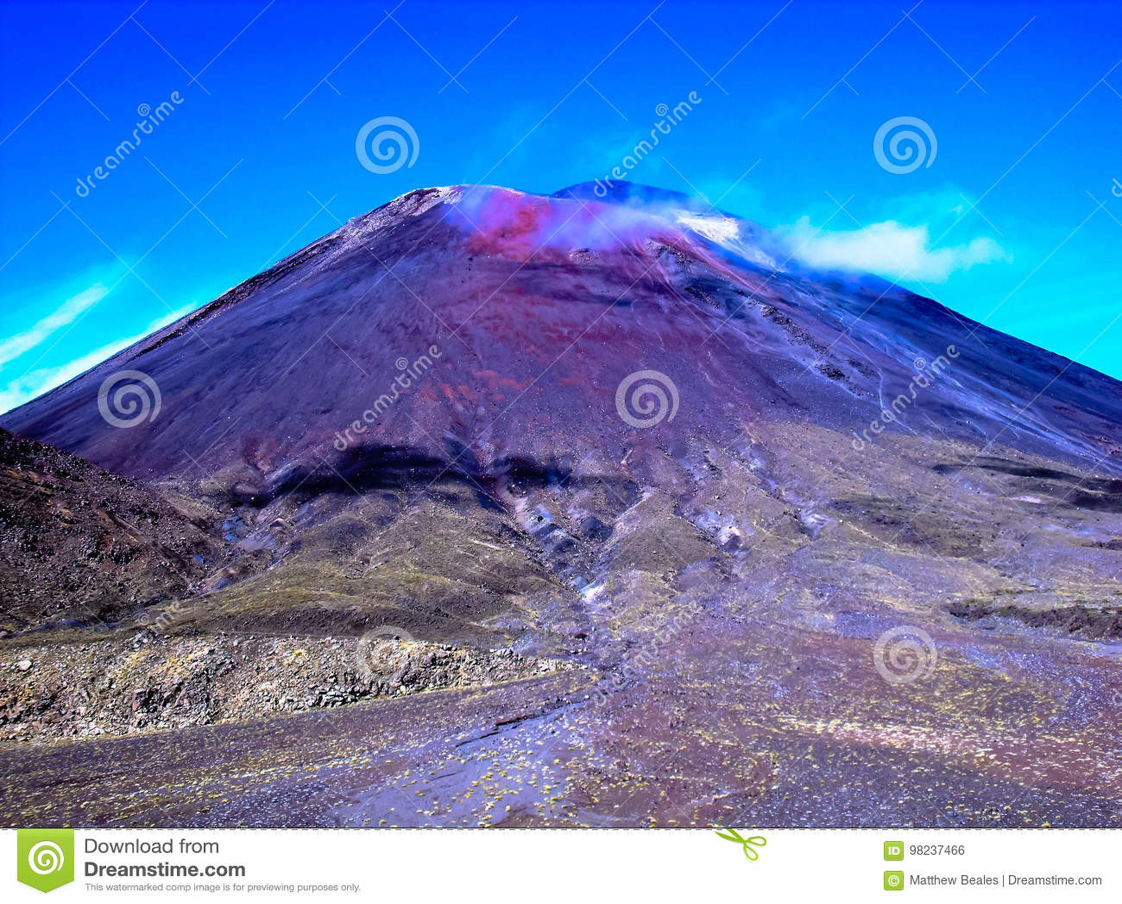 Ideia impressionante do cruzamento montanhoso de Tongariro, Nova Zelândia