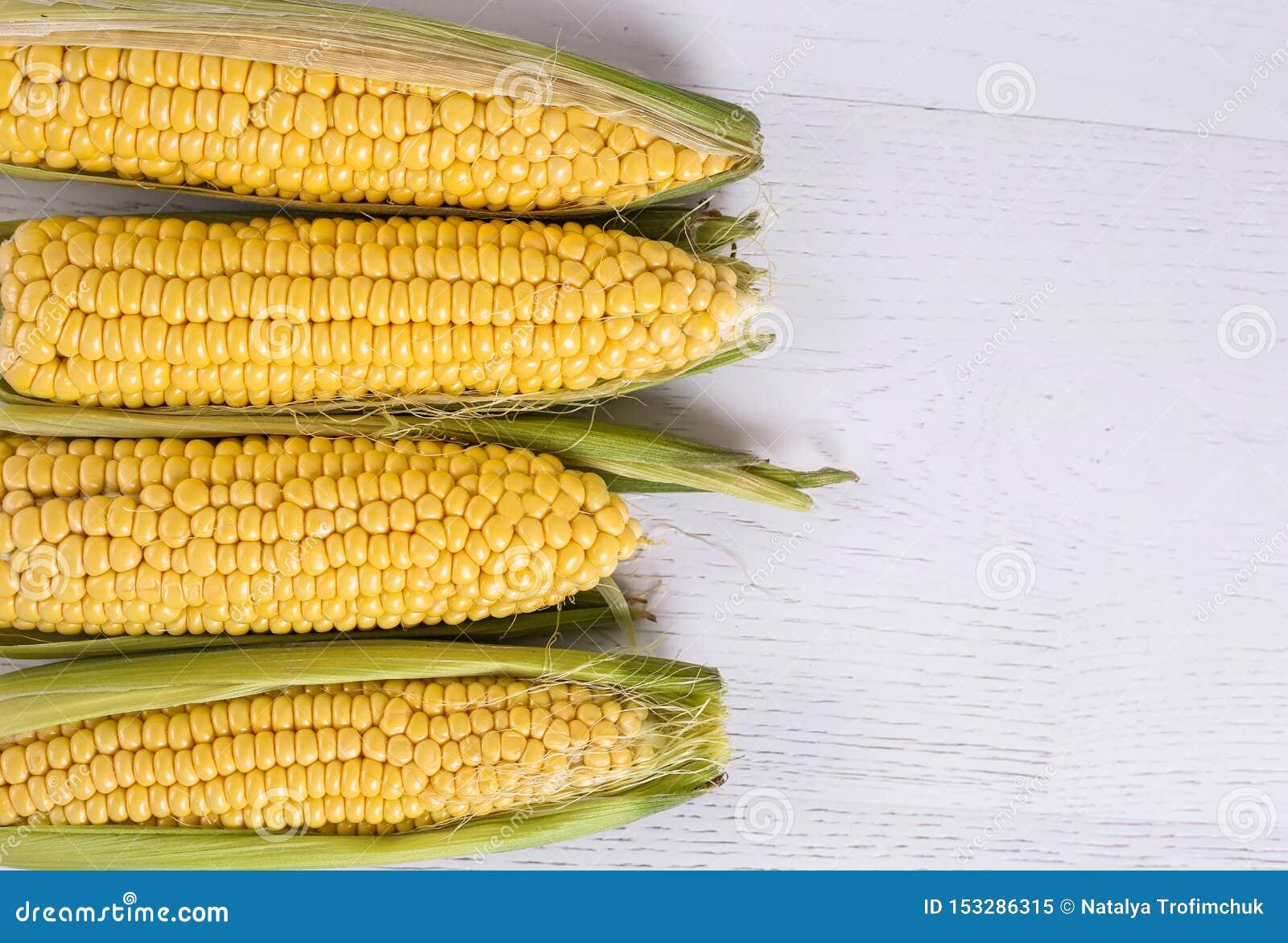 Ideia superior das cabeças novas do milho no fundo de madeira branco Espa?o para o texto