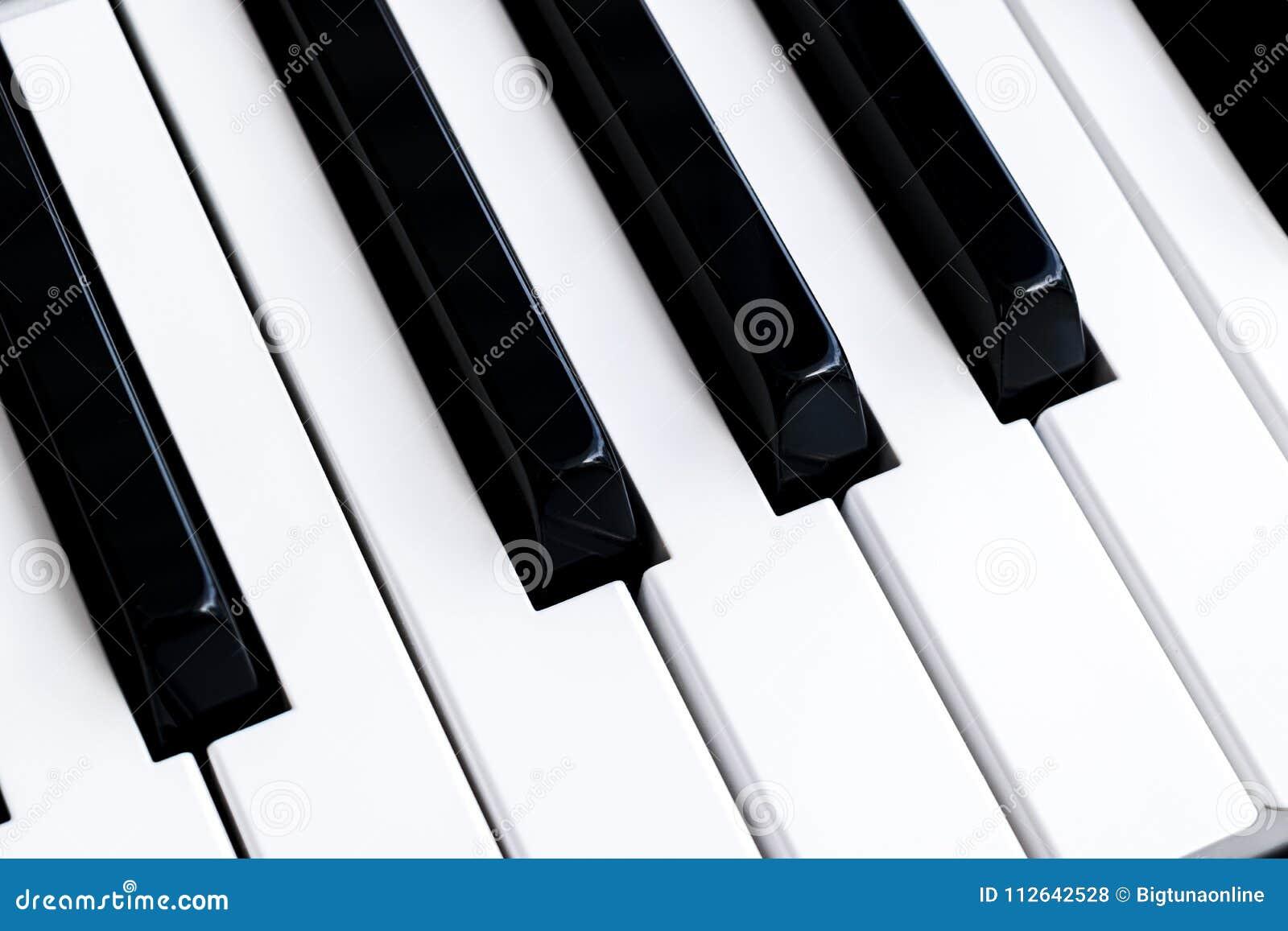 Ideia superior de chaves do piano Close-up de chaves do piano vista frontal próxima Teclado de piano com foco seletivo Vista diag