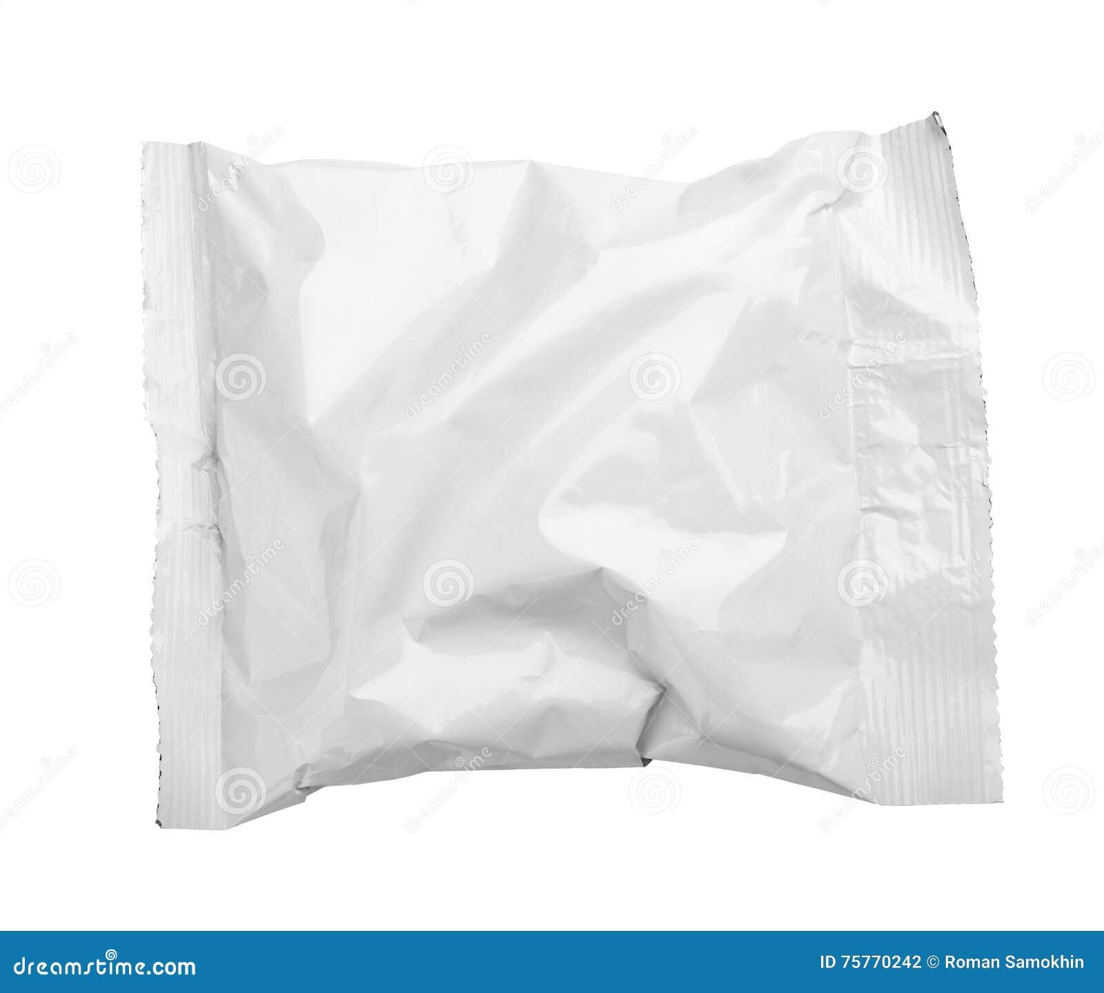 A ideia superior do empacotamento de alimento amarrotado placa do malote plástico isolou-se no branco