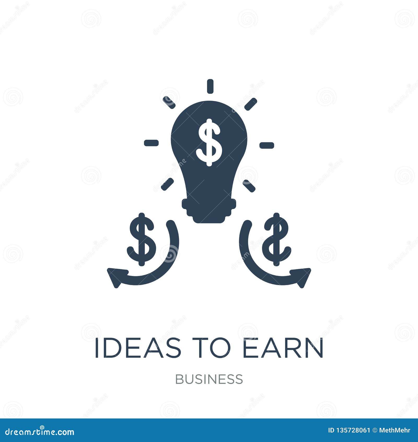 Ideias ganhar o ícone do dinheiro no estilo na moda do projeto ideias ganhar o ícone do dinheiro isolado no fundo branco ideias g