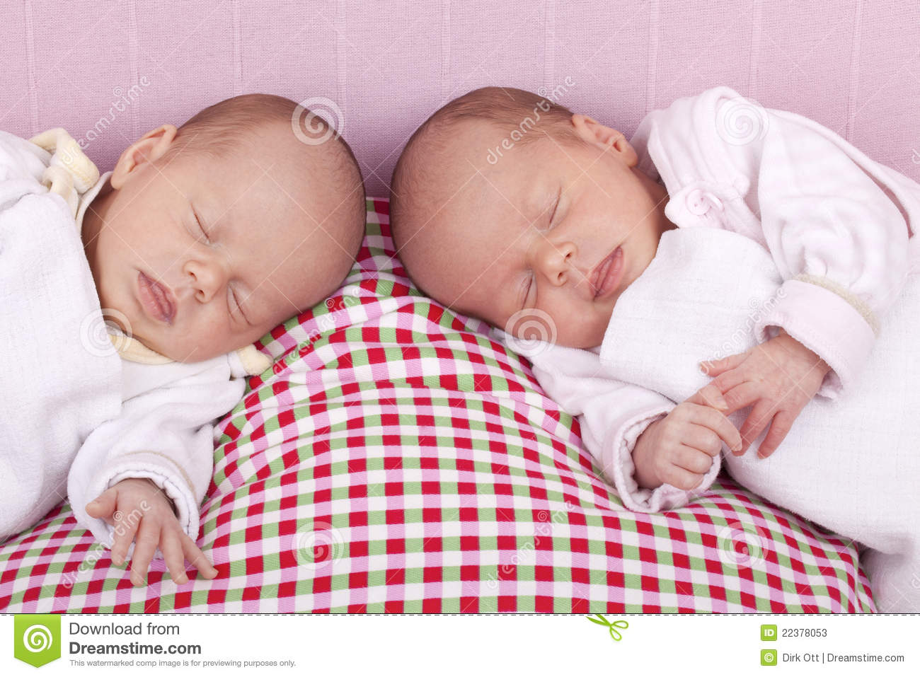 Identical Baby Twin Girls Sleeping Stock Photos Image
