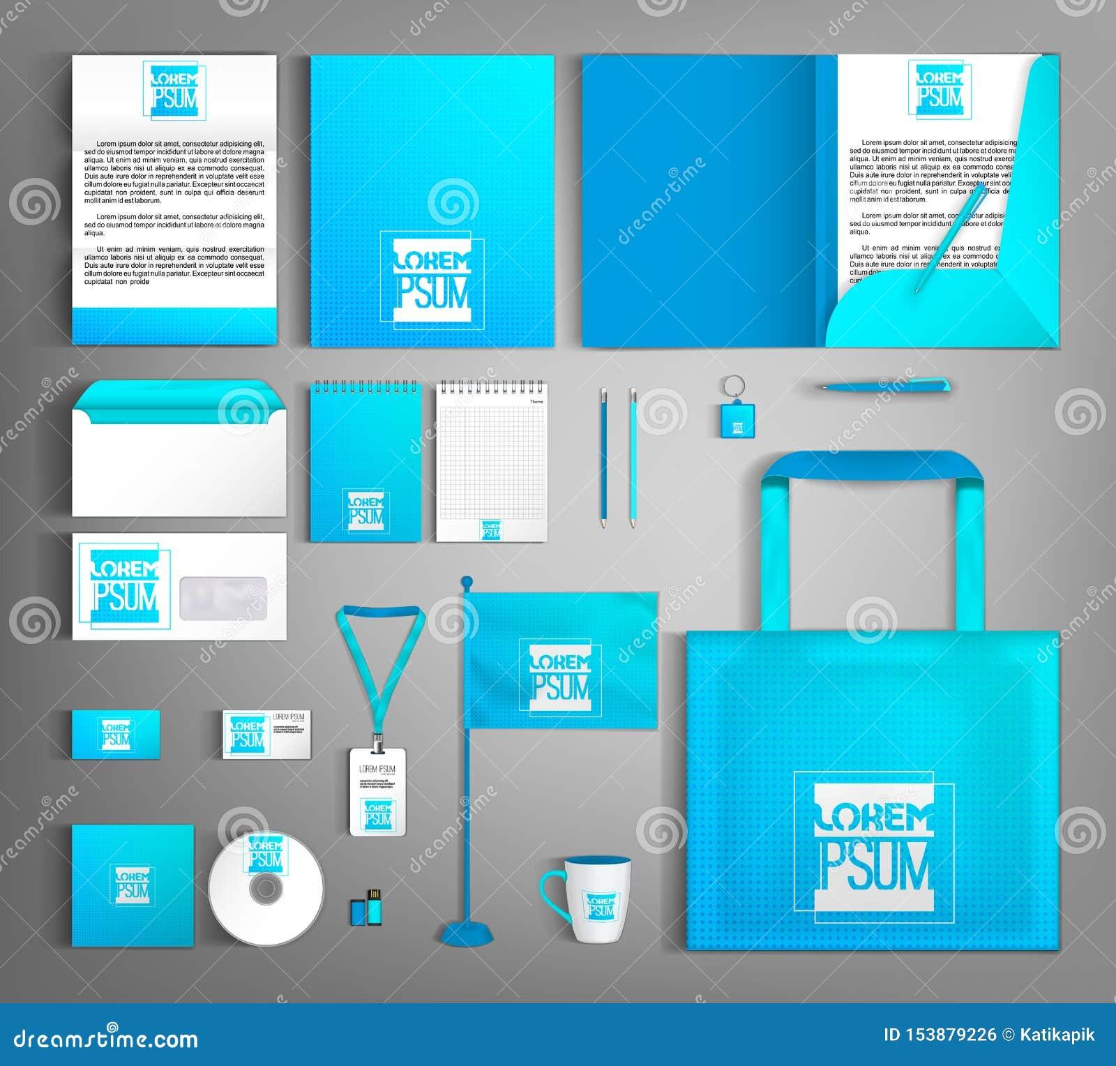 Identidad corporativa azul Plantilla editable moderna brillante